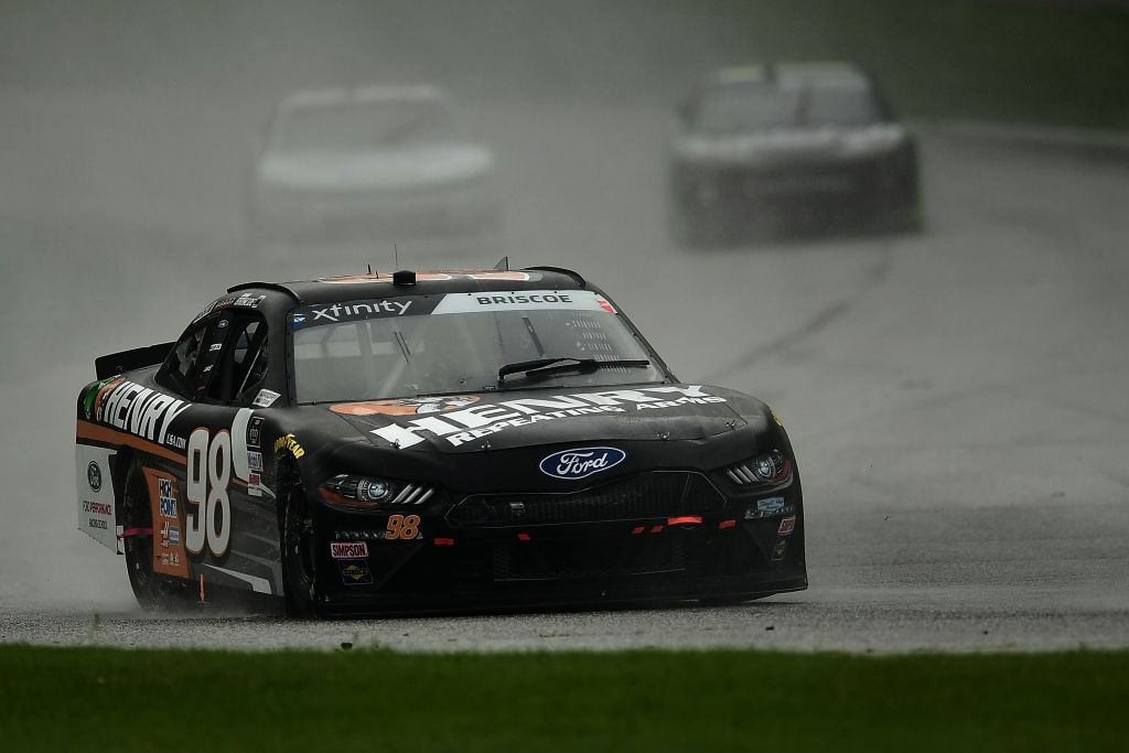 ELKHART LAKE, WISCONSIN - AUGUST 08: Chase Briscoe, driver of the #98 Henry Repeating Arms Ford, leads a pack of cars during the NASCR Xfinity Series Henry 180 at Road America on August 08, 2020 in Elkhart Lake, Wisconsin. (Photo by Stacy Revere/Getty Images) | Getty Images