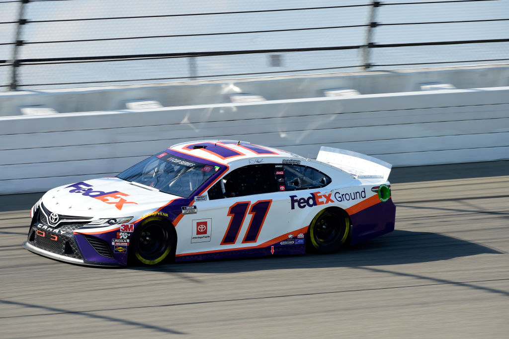 BROOKLYN, MICHIGAN - AUGUST 09: Denny Hamlin, driver of the #11 FedEx Ground Toyota, drives during the NASCAR Cup Series Consumers Energy 400 at Michigan International Speedway on August 09, 2020 in Brooklyn, Michigan. (Photo by Jared C. Tilton/Getty Images) | Getty Images