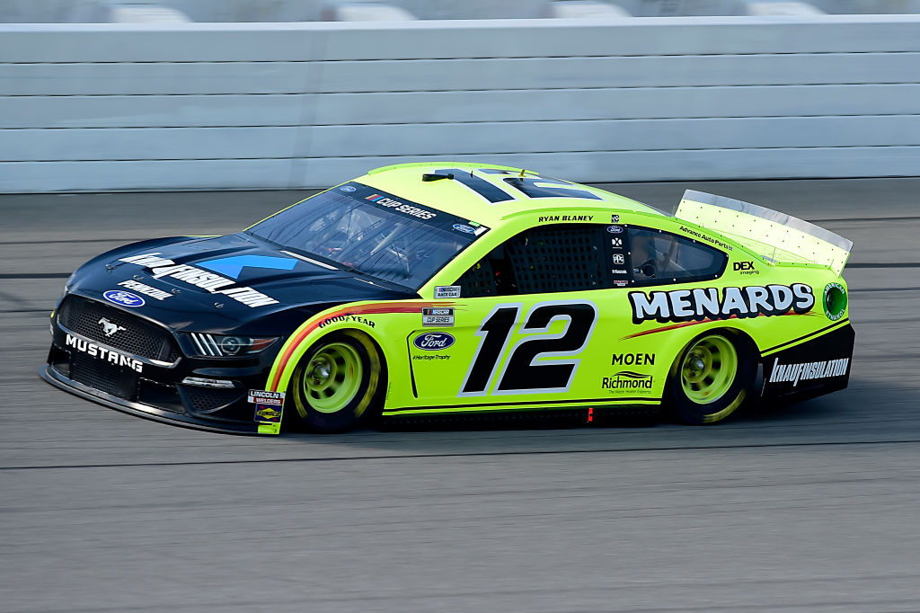 BROOKLYN, MICHIGAN - AUGUST 09: Ryan Blaney, driver of the #12 Menards/Knauf Ford, drives during the NASCAR Cup Series Consumers Energy 400 at Michigan at Michigan International Speedway on August 09, 2020 in Brooklyn, Michigan. (Photo by Jared C. Tilton/Getty Images) | Getty Images