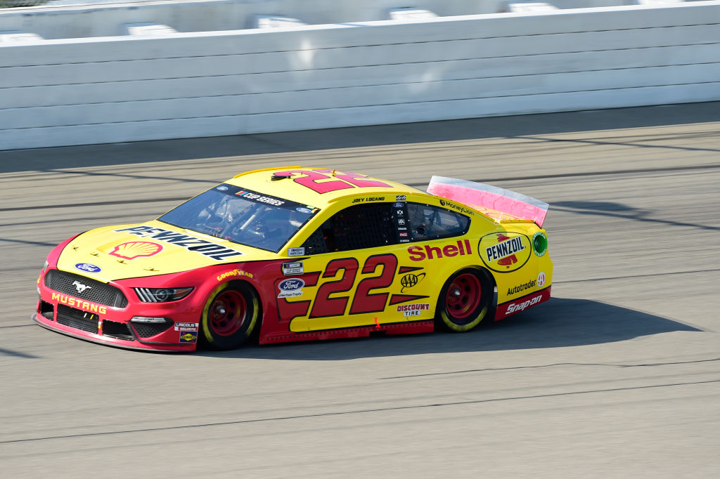 BROOKLYN, MICHIGAN - AUGUST 09: Joey Logano, driver of the #22 Shell Pennzoil Ford, drives during the NASCAR Cup Series Consumers Energy 400 at Michigan at Michigan International Speedway on August 09, 2020 in Brooklyn, Michigan. (Photo by Jared C. Tilton/Getty Images) | Getty Images
