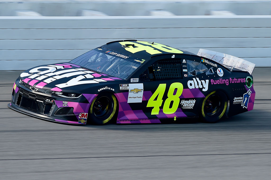 BROOKLYN, MICHIGAN - AUGUST 09: Jimmie Johnson, driver of the #48 Ally Fueling Futures Chevrolet, drives during the NASCAR Cup Series Consumers Energy 400 at Michigan at Michigan International Speedway on August 09, 2020 in Brooklyn, Michigan. (Photo by Jared C. Tilton/Getty Images) | Getty Images