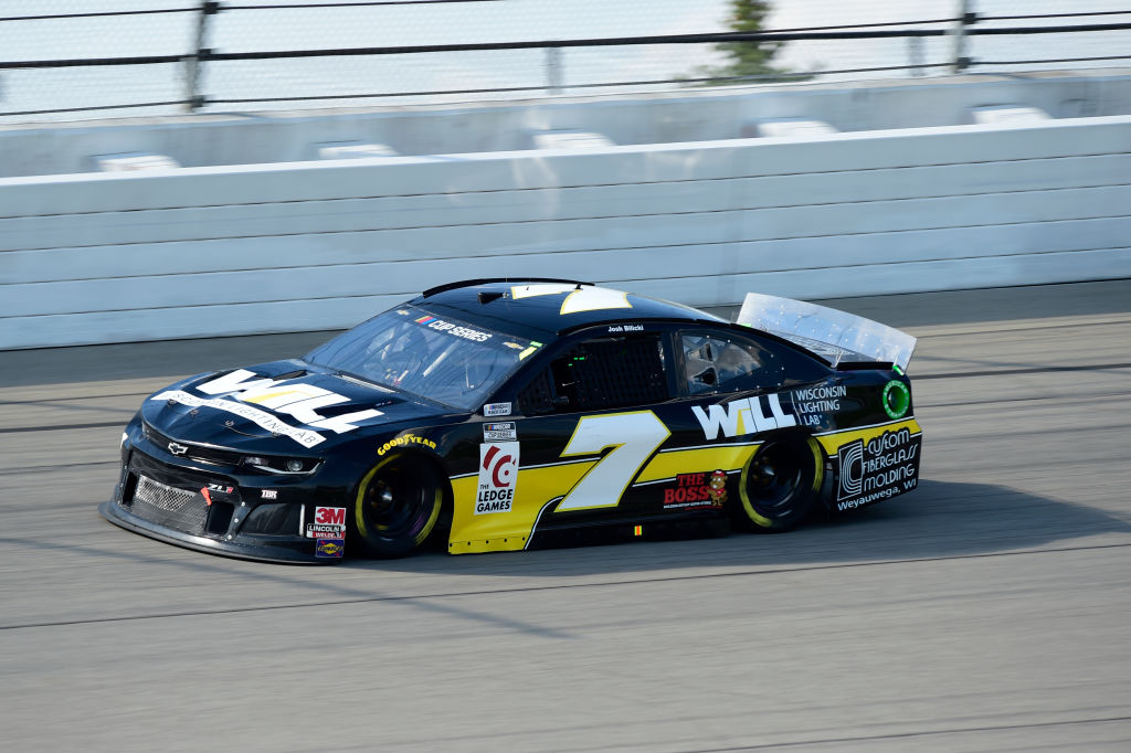 BROOKLYN, MICHIGAN - AUGUST 09: Josh Bilicki, driver of the #7 Ziegler Auto Chevrolet, drives during the NASCAR Cup Series Consumers Energy 400 at Michigan at Michigan International Speedway on August 09, 2020 in Brooklyn, Michigan. (Photo by Jared C. Tilton/Getty Images) | Getty Images
