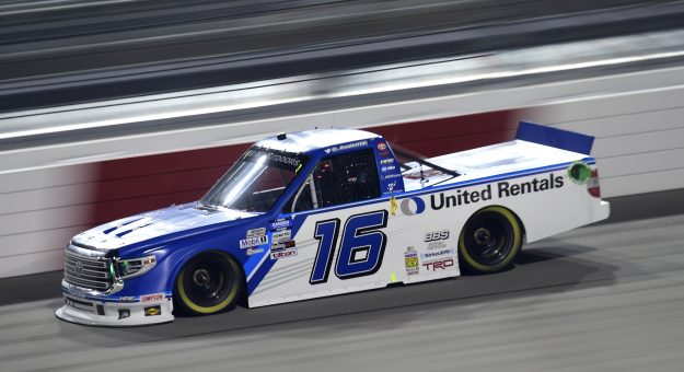 RICHMOND, VIRGINIA - SEPTEMBER 10: Austin Hill, driver of the #16 United Rentals Toyota, drives during the NASCAR Gander Outdoors Truck Series ToyotaCare 250 at Richmond Raceway on September 10, 2020 in Richmond, Virginia. (Photo by Jared C. Tilton/Getty Images) | Getty Images