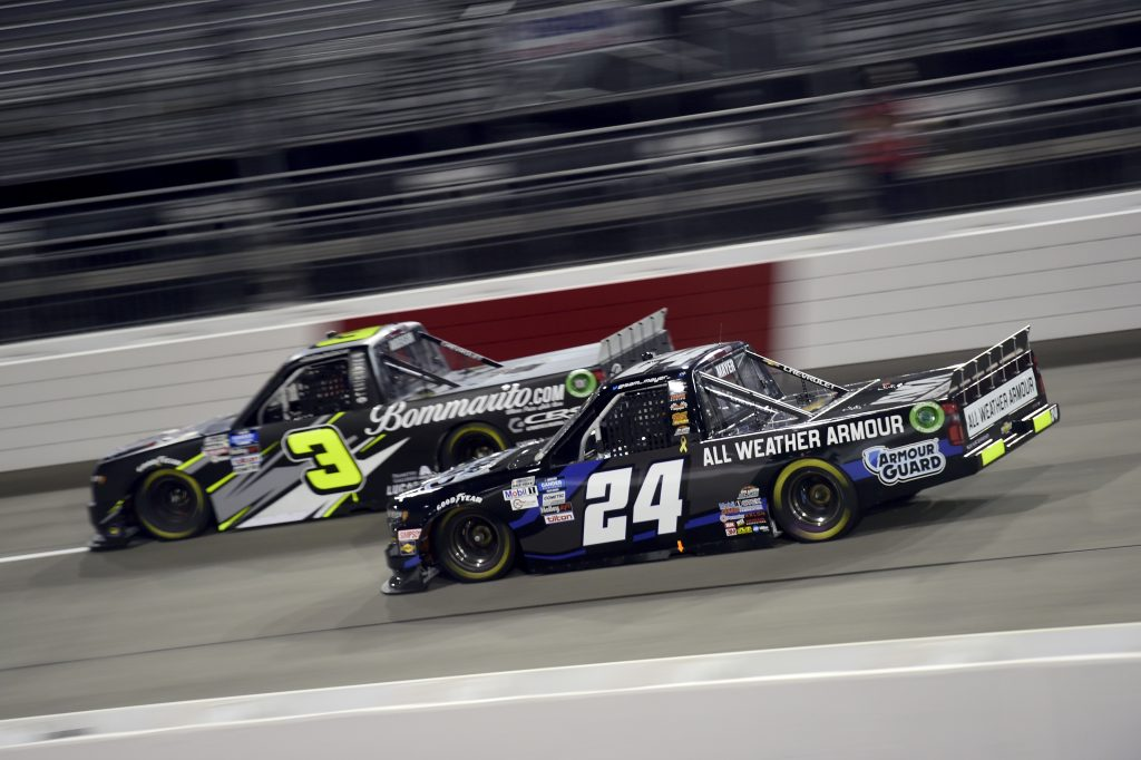 RICHMOND, VIRGINIA - SEPTEMBER 10: Sam Mayer, driver of the #24 AWA Chevrolet, and Jordan Anderson, driver of the #3 Bommarito.com/Sefton Steel Chevrolet, race during the NASCAR Gander Outdoors Truck Series ToyotaCare 250 at Richmond Raceway on September 10, 2020 in Richmond, Virginia. (Photo by Jared C. Tilton/Getty Images) | Getty Images