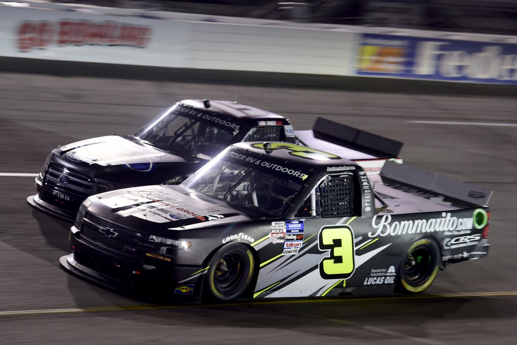RICHMOND, VIRGINIA - SEPTEMBER 10: Jordan Anderson, driver of the #3 Bommarito.com/Sefton Steel Chevrolet, and Tanner Gray, driver of the #15 Ford/Ford Performance Ford, race during the NASCAR Gander Outdoors Truck Series ToyotaCare 250 at Richmond Raceway on September 10, 2020 in Richmond, Virginia. (Photo by Jared C. Tilton/Getty Images) | Getty Images