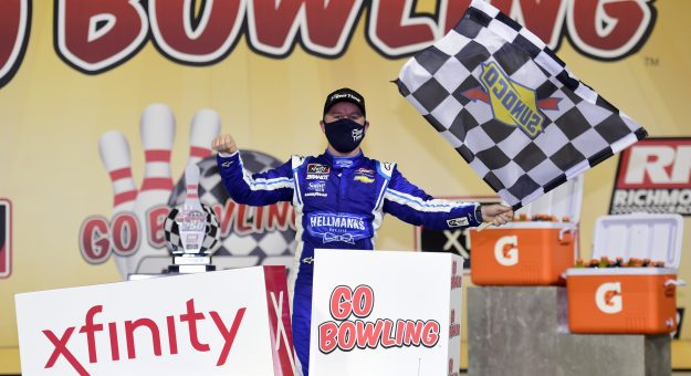 RICHMOND, VIRGINIA - SEPTEMBER 11: Justin Allgaier, driver of the #7 FilterTime Chevrolet, celebrates in Victory Lane after winning the NASCAR Xfinity Series Go Bowling 250 at Richmond Raceway on September 11, 2020 in Richmond, Virginia. (Photo by Jared C. Tilton/Getty Images)   Getty Images
