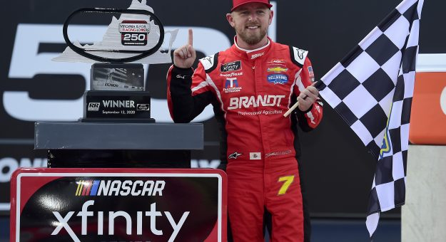 RICHMOND, VIRGINIA - SEPTEMBER 12: Justin Allgaier, driver of the #7 BRANDT Chevrolet, celebrates inn Victory Lane after winning the NASCAR Xfinity Series Virginia is for Racing Lovers 250 at Richmond Raceway on September 12, 2020 in Richmond, Virginia. (Photo by Jared C. Tilton/Getty Images) | Getty Images