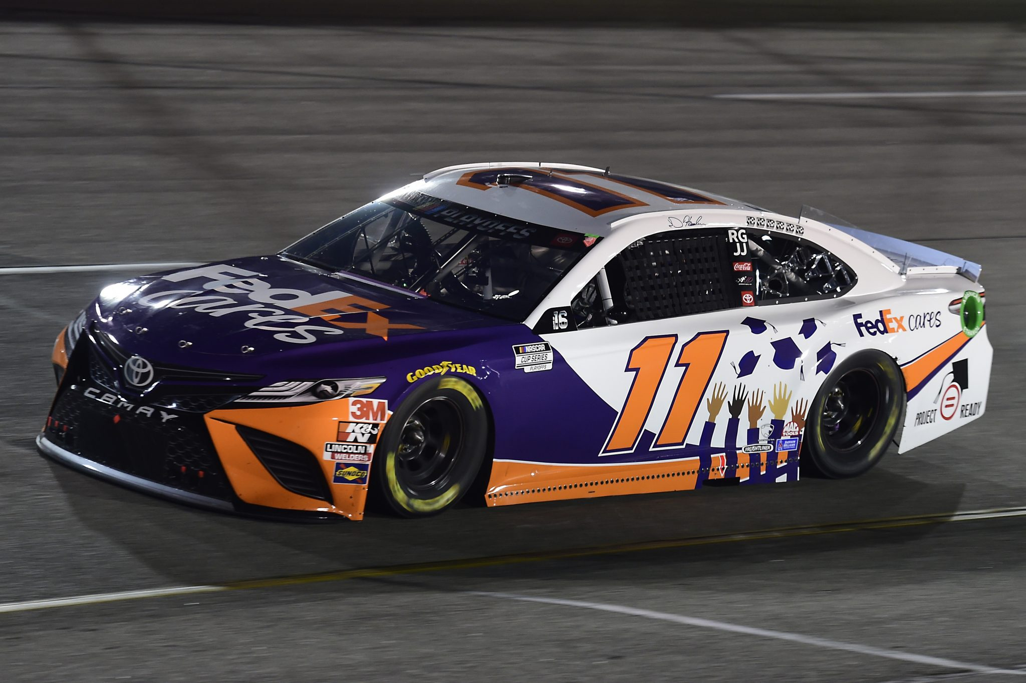 RICHMOND, VIRGINIA - SEPTEMBER 12: Denny Hamlin, driver of the #11 FedEx Cars Toyota, drives during the NASCAR Cup Series Federated Auto Parts 400 at Richmond Raceway on September 12, 2020 in Richmond, Virginia. (Photo by Jared C. Tilton/Getty Images) | Getty Images