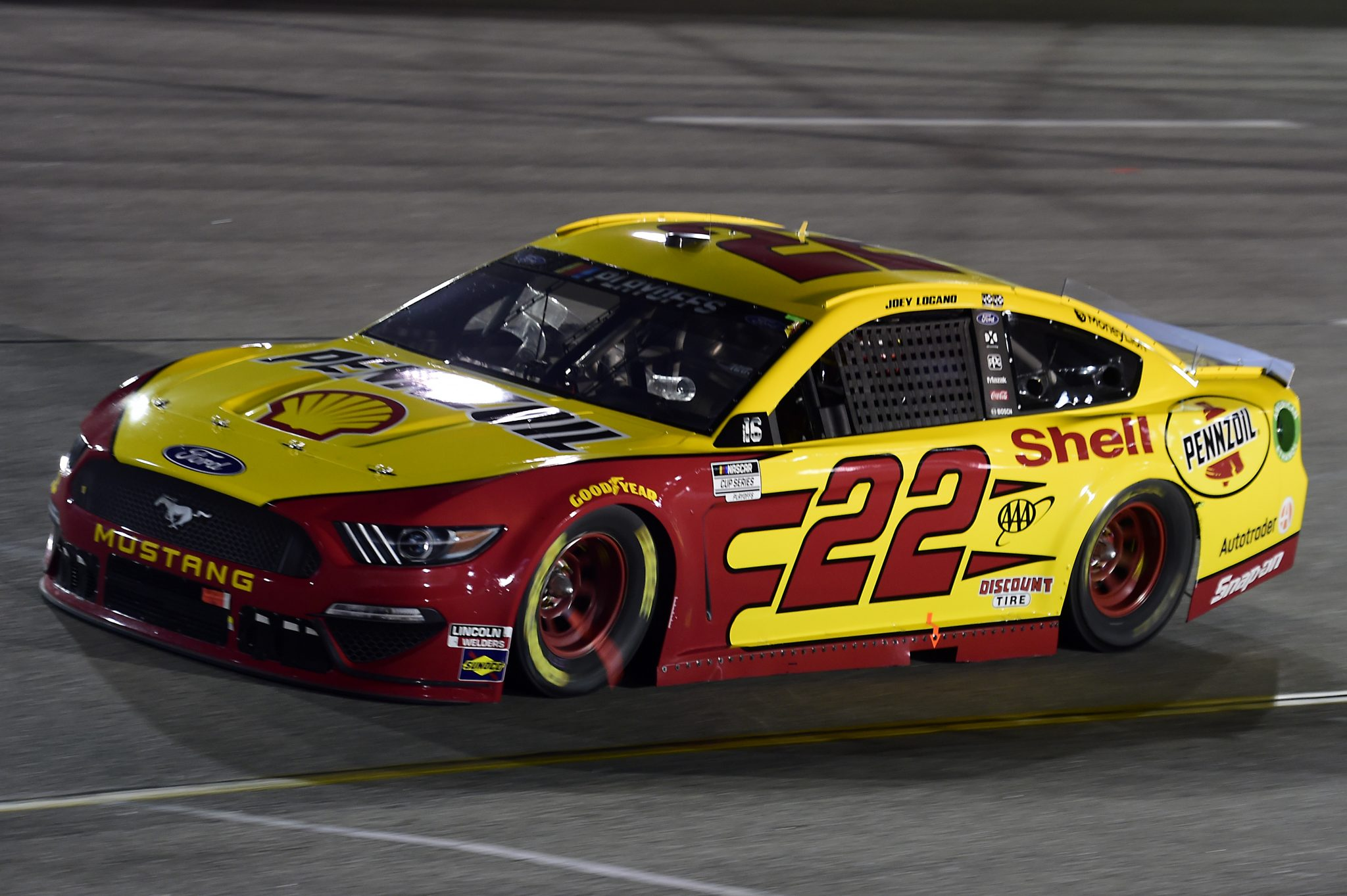 RICHMOND, VIRGINIA - SEPTEMBER 12: Joey Logano, driver of the #22 Shell Pennzoil Ford, drives during the NASCAR Cup Series Federated Auto Parts 400 at Richmond Raceway on September 12, 2020 in Richmond, Virginia. (Photo by Jared C. Tilton/Getty Images) | Getty Images