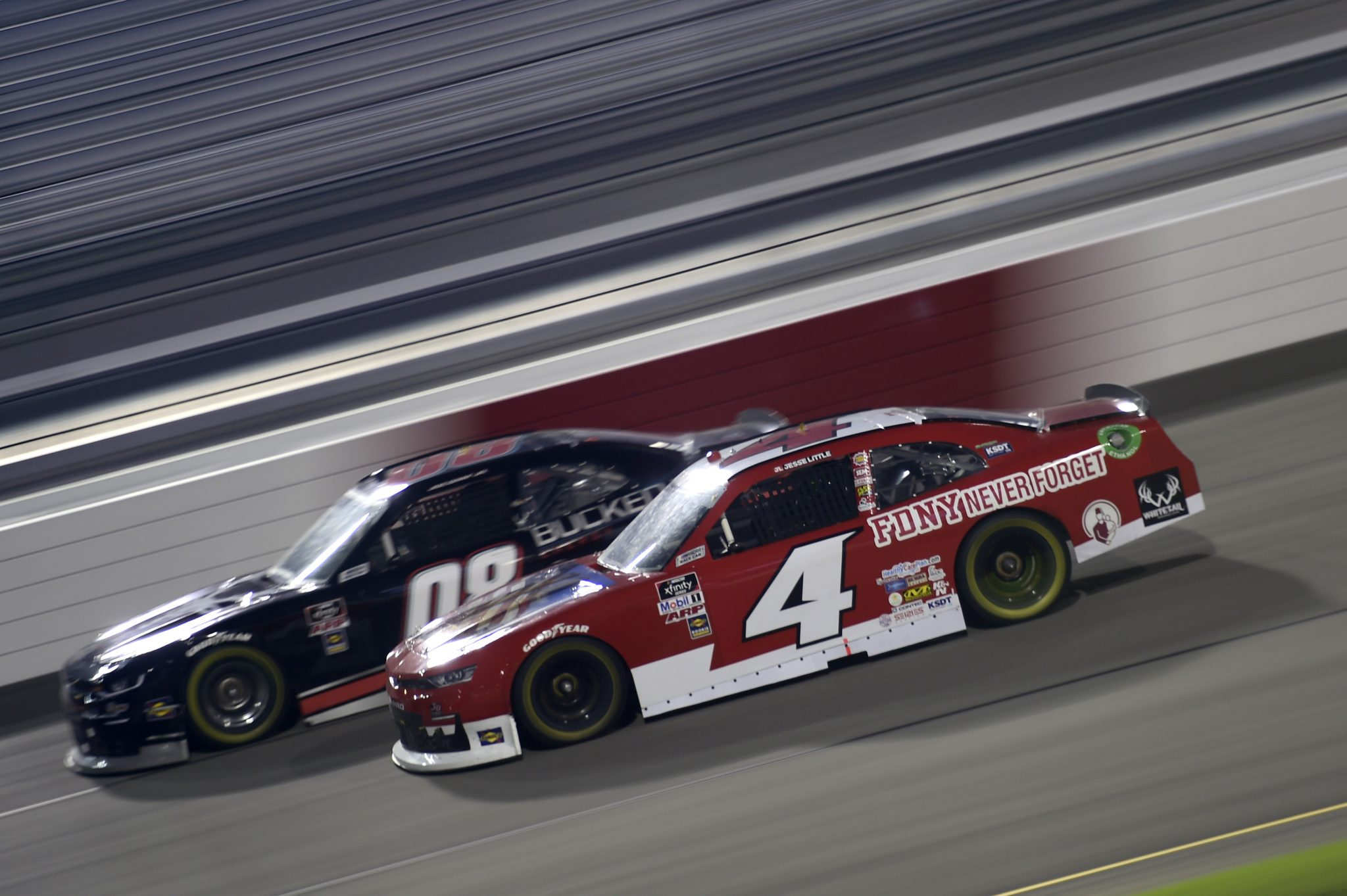 RICHMOND, VIRGINIA - SEPTEMBER 11: Jesse Little, driver of the #4 Shriners Hospitals Chevrolet, and Joe Graf Jr, driver of the #08 Bucked Up Energy Chevrolet, race during the NASCAR Xfinity Series Go Bowling 250 at Richmond Raceway on September 11, 2020 in Richmond, Virginia. (Photo by Jared C. Tilton/Getty Images) | Getty Images