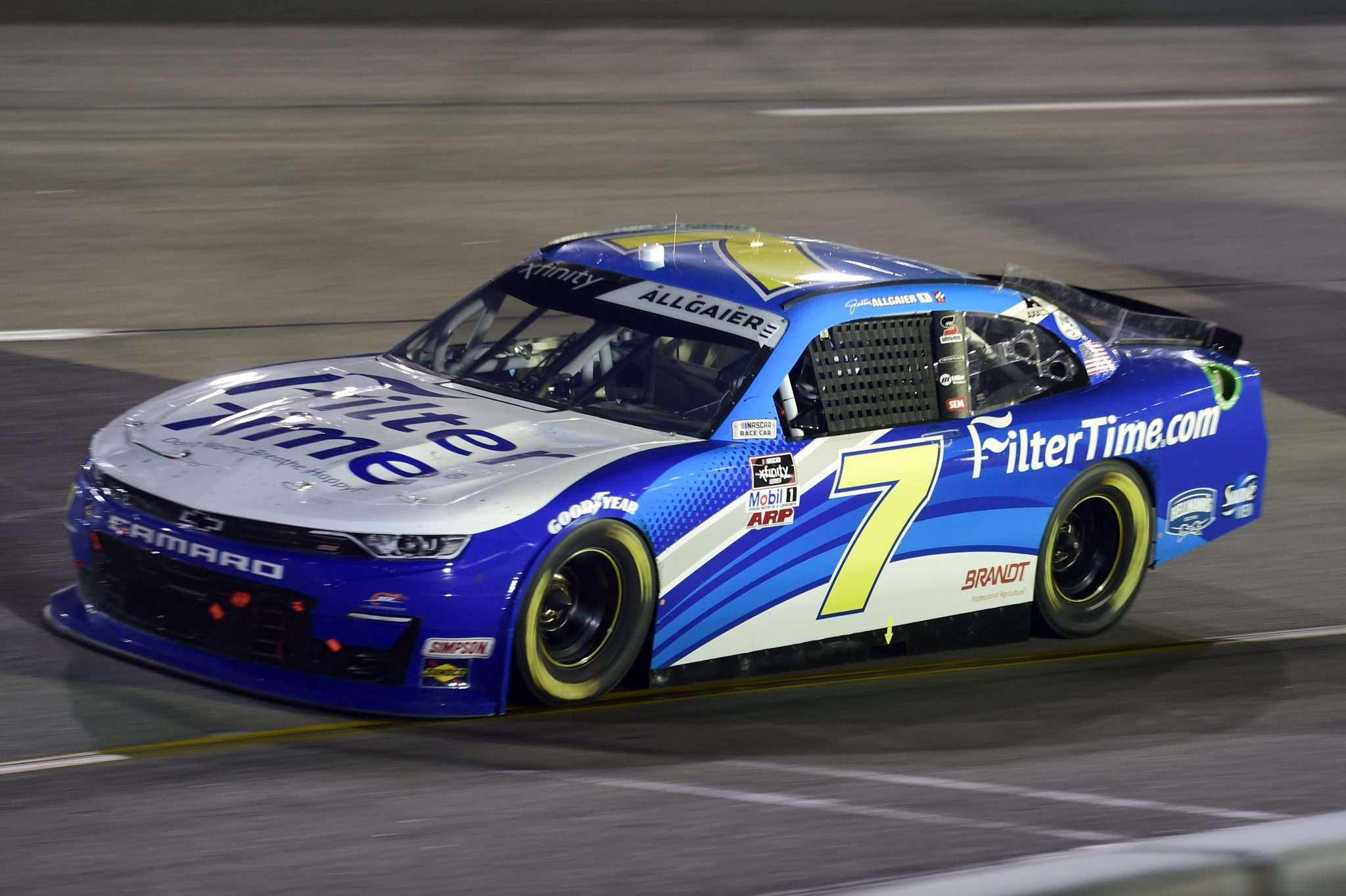RICHMOND, VIRGINIA - SEPTEMBER 11: Justin Allgaier, driver of the #7 FilterTime Chevrolet, drives during the NASCAR Xfinity Series Go Bowling 250 at Richmond Raceway on September 11, 2020 in Richmond, Virginia. (Photo by Jared C. Tilton/Getty Images) | Getty Images