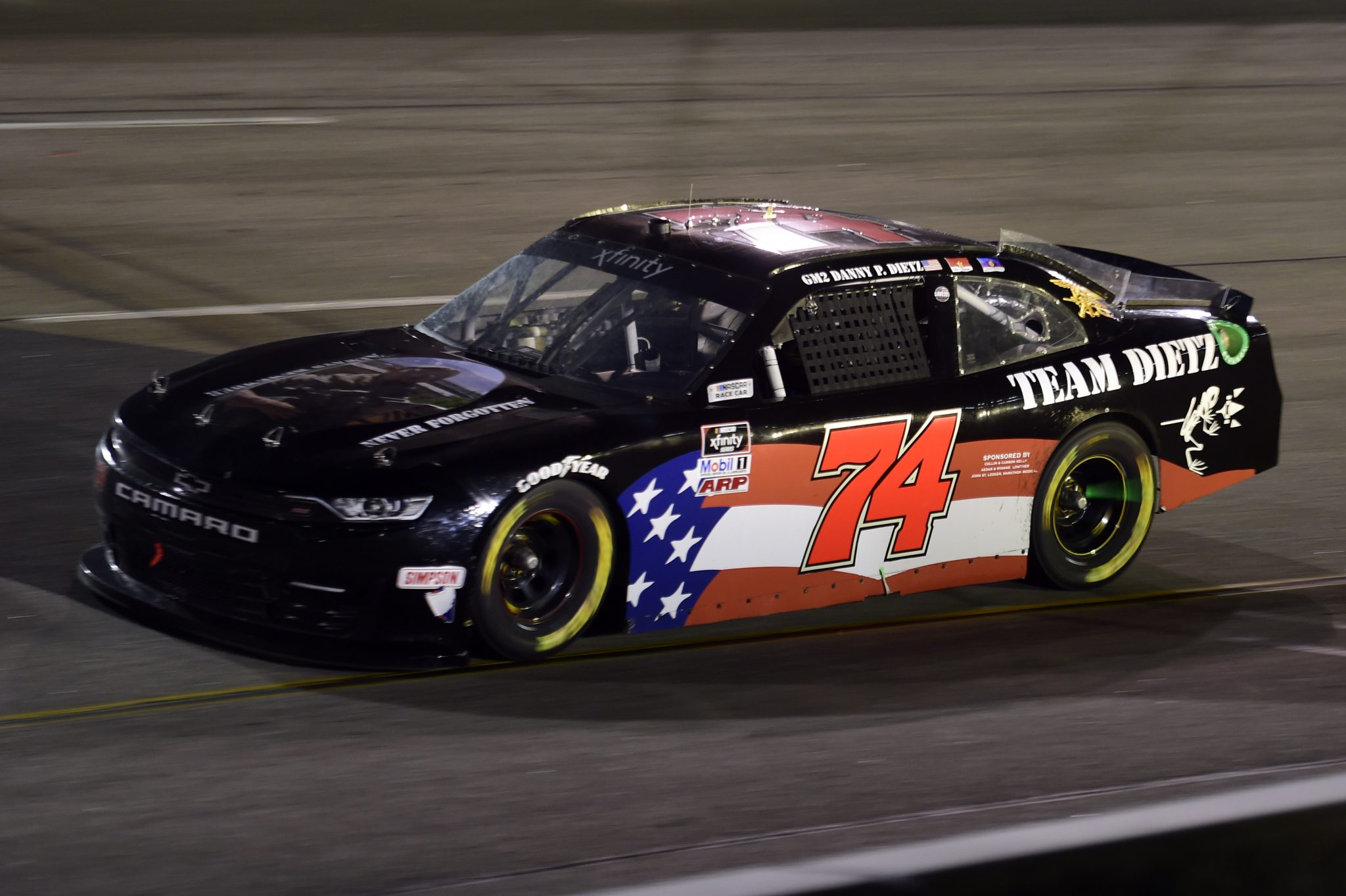 RICHMOND, VIRGINIA - SEPTEMBER 11: Bayley Currey, driver of the #74 Danny Dietz Tribute Chevrolet, drives during the NASCAR Xfinity Series Go Bowling 250 at Richmond Raceway on September 11, 2020 in Richmond, Virginia. (Photo by Jared C. Tilton/Getty Images) | Getty Images