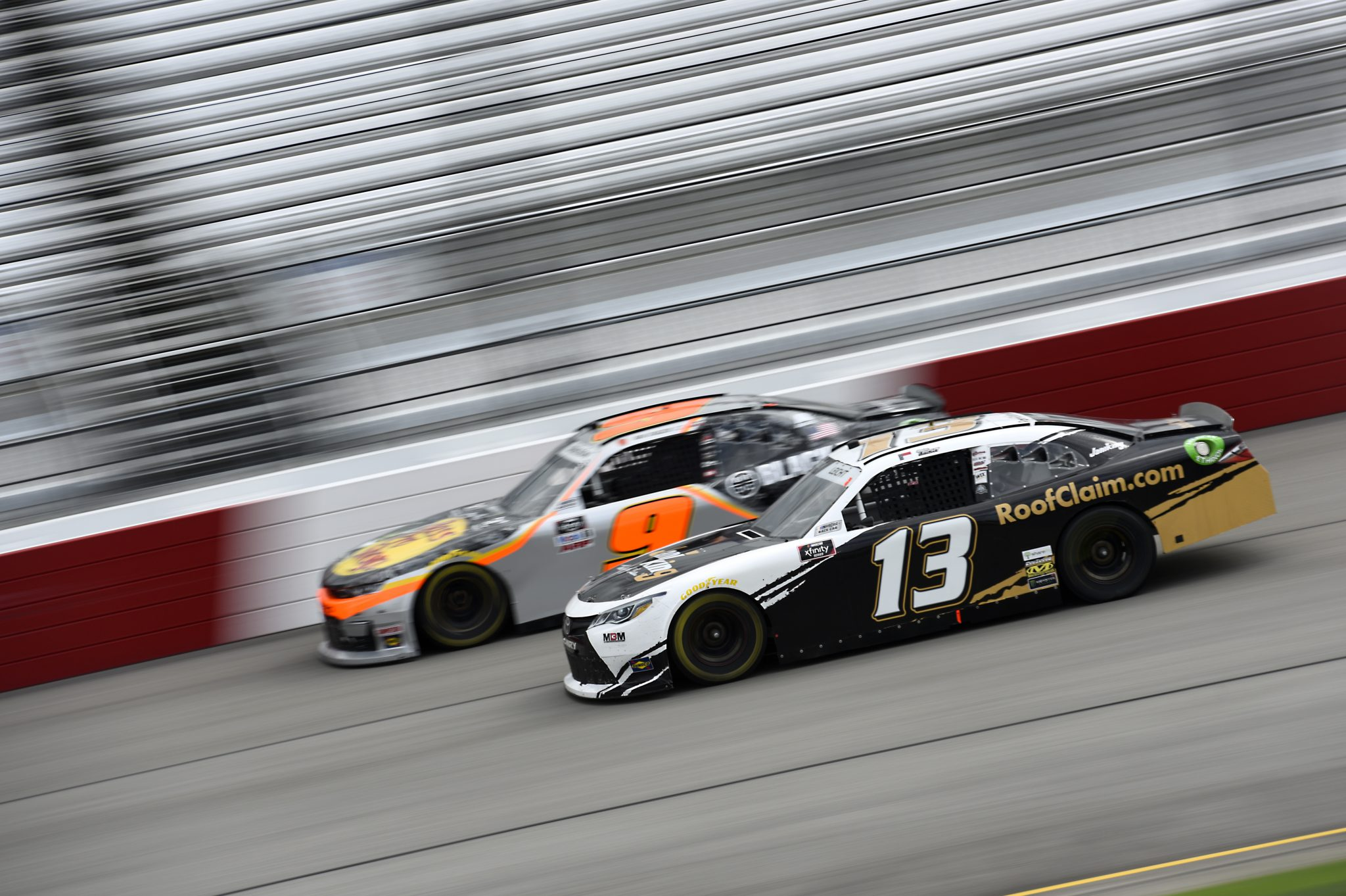 RICHMOND, VIRGINIA - SEPTEMBER 12: Stephen Leicht, driver of the #13 RoofClaim.com Toyota, and Noah Gragson, driver of the #9 Bass Pro Shops/TrueTimber Camo Chevrolet, race during the NASCAR Xfinity Series Virginia is for Racing Lovers 250 at Richmond Raceway on September 12, 2020 in Richmond, Virginia. (Photo by Jared C. Tilton/Getty Images) | Getty Images