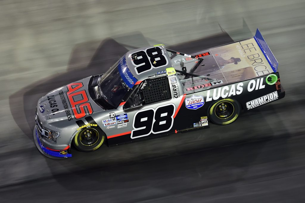 BRISTOL, TENNESSEE - SEPTEMBER 17: Grant Enfinger, driver of the #98 ADS/Lucas Oil/Curb Records Ford, drives during the NASCAR Gander RV & Outdoors Truck Series UNOH 200 presented by Ohio Logistics at Bristol Motor Speedway on September 17, 2020 in Bristol, Tennessee. (Photo by Jared C. Tilton/Getty Images) | Getty Images