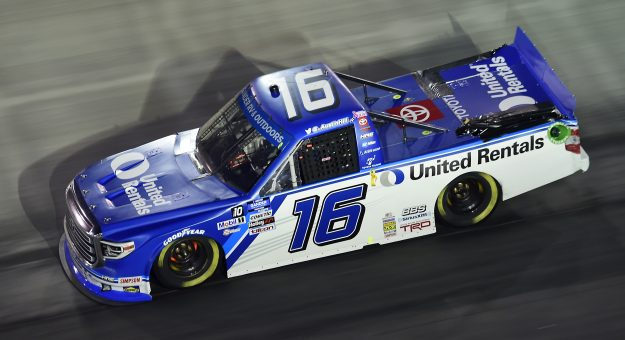 BRISTOL, TENNESSEE - SEPTEMBER 17: Austin Hill, driver of the #16 United Rentals Toyota, drives during the NASCAR Gander RV & Outdoors Truck Series UNOH 200 presented by Ohio Logistics at Bristol Motor Speedway on September 17, 2020 in Bristol, Tennessee. (Photo by Jared C. Tilton/Getty Images) | Getty Images