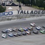 TALLADEGA, ALABAMA - JUNE 22:  Bubba Wallace, driver of the #43 Victory Junction Chevrolet, leads the field during the NASCAR Cup Series GEICO 500 at Talladega Superspeedway on June 22, 2020 in Talladega, Alabama. (Photo by Brian Lawdermilk/Getty Images) | Getty Images