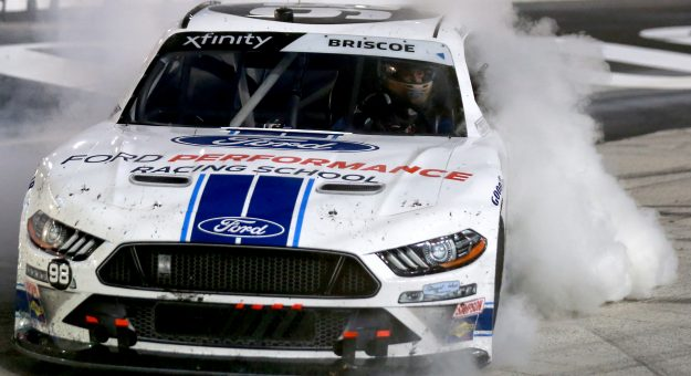 BRISTOL, TENNESSEE - SEPTEMBER 18: Chase Briscoe, driver of the #98 Ford Performance Racing School Ford,  celebrates with a burnout after winning the NASCAR Xfinity Series Food City 300 at Bristol Motor Speedway on September 18, 2020 in Bristol, Tennessee. (Photo by Sean Gardner/Getty Images) | Getty Images