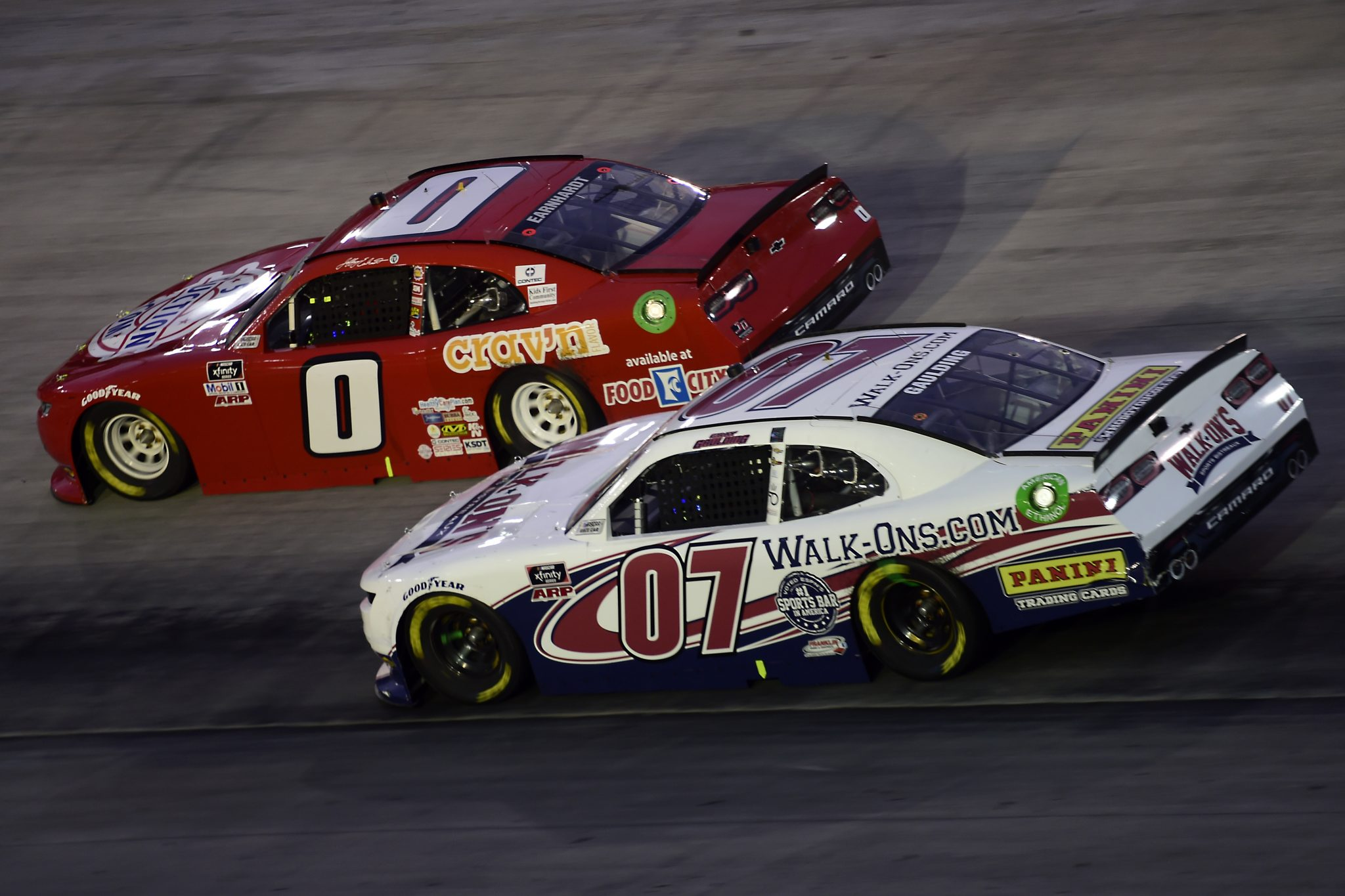 BRISTOL, TENNESSEE - SEPTEMBER 18: Gray Gaulding, driver of the #07 WALK-ON'S Chevrolet, and Jeffrey Earnhardt, driver of the #0 511Auction.com Chevrolet, race during the NASCAR Xfinity Series Food City 300 at Bristol Motor Speedway on September 18, 2020 in Bristol, Tennessee. (Photo by Jared C. Tilton/Getty Images) | Getty Images