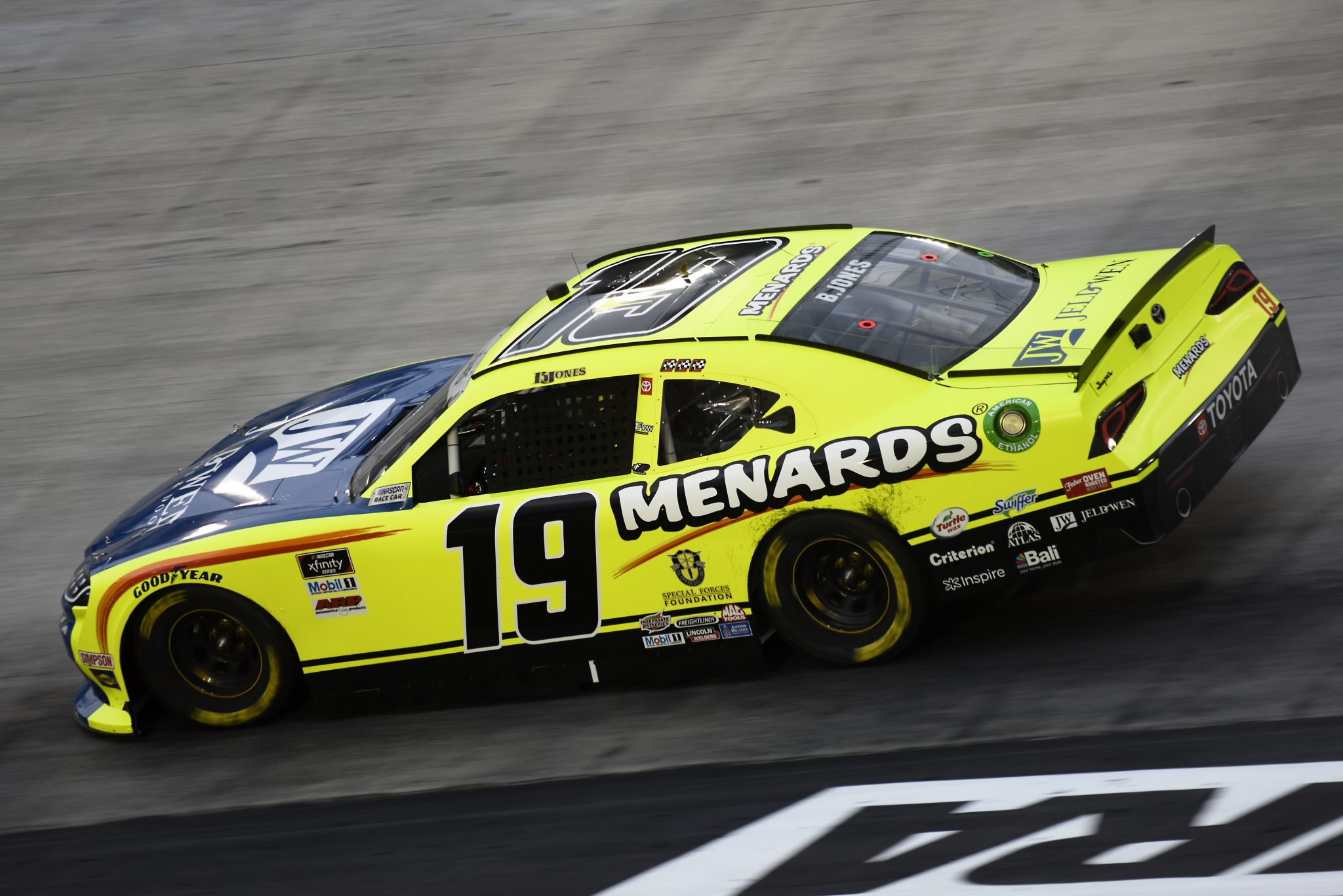 BRISTOL, TENNESSEE - SEPTEMBER 18: Brandon Jones, driver of the #19 Menards/Jen-Weld Toyota, drives during the NASCAR Xfinity Series Food City 300 at Bristol Motor Speedway on September 18, 2020 in Bristol, Tennessee. (Photo by Jared C. Tilton/Getty Images) | Getty Images
