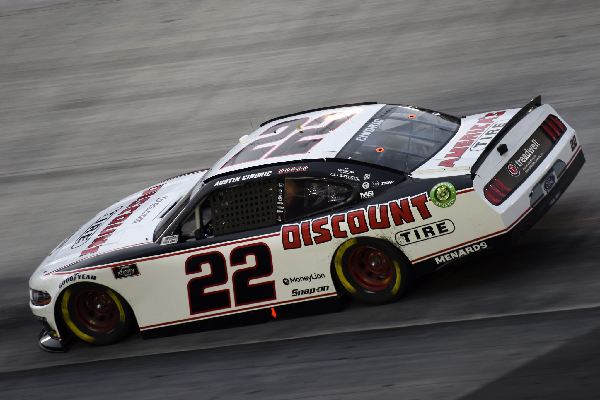 BRISTOL, TENNESSEE - SEPTEMBER 18: Austin Cindric, driver of the #22 Discount Tire Ford, drives during the NASCAR Xfinity Series Food City 300 at Bristol Motor Speedway on September 18, 2020 in Bristol, Tennessee. (Photo by Jared C. Tilton/Getty Images)   Getty Images