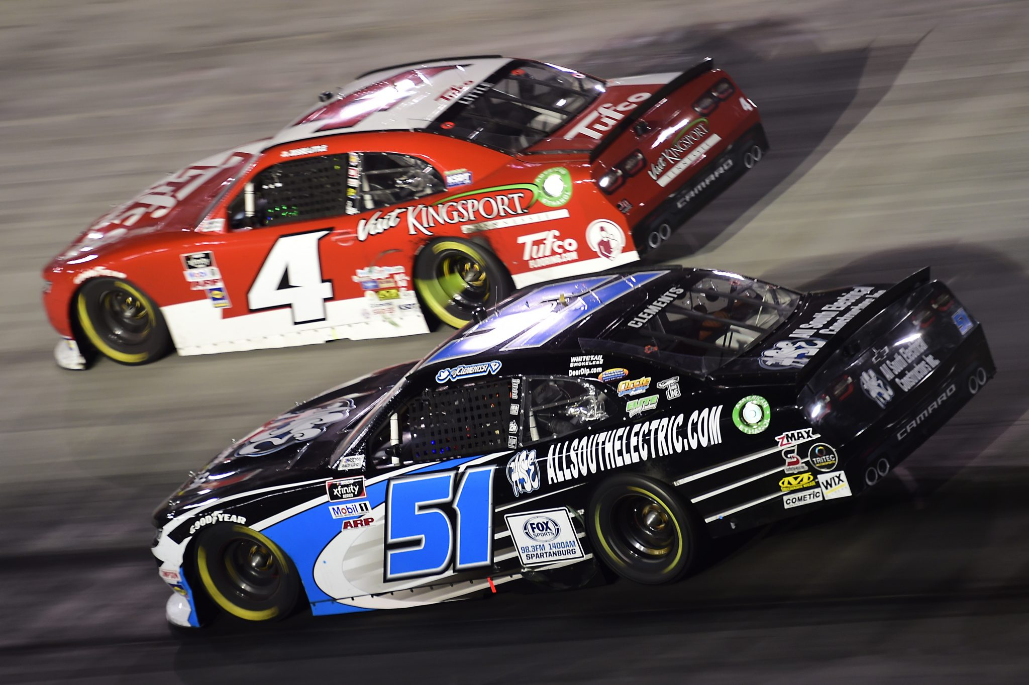 BRISTOL, TENNESSEE - SEPTEMBER 18: Jeremy Clements, driver of the #51 AllSouthElectric.com Chevrolet, and Jesse Little, driver of the #4 TufcoFlooring.com Chevrolet, race during the NASCAR Xfinity Series Food City 300 at Bristol Motor Speedway on September 18, 2020 in Bristol, Tennessee. (Photo by Jared C. Tilton/Getty Images) | Getty Images