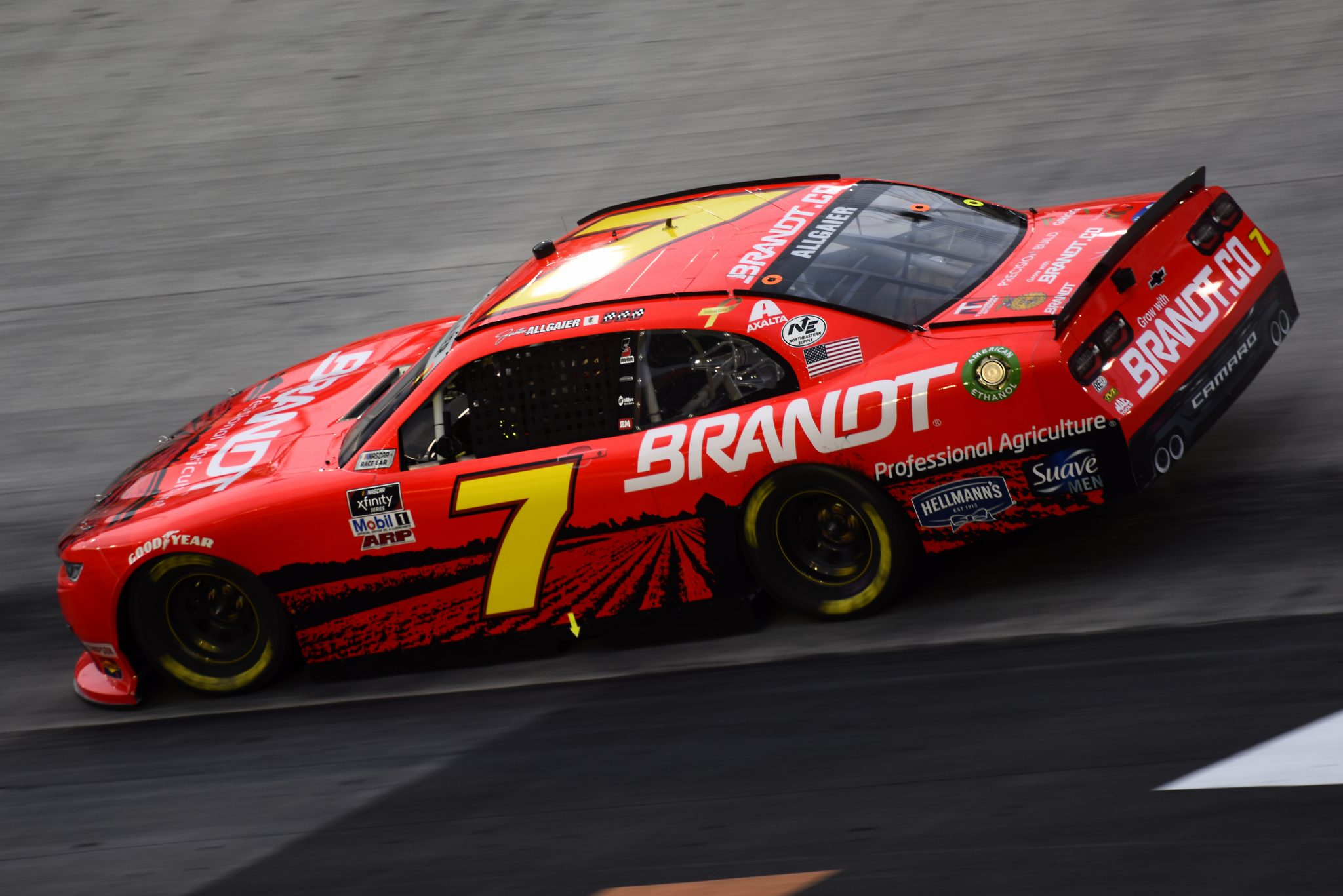 BRISTOL, TENNESSEE - SEPTEMBER 18: Justin Allgaier, driver of the #7 BRANDT Chevrolet, drives during the NASCAR Xfinity Series Food City 300 at Bristol Motor Speedway on September 18, 2020 in Bristol, Tennessee. (Photo by Jared C. Tilton/Getty Images) | Getty Images