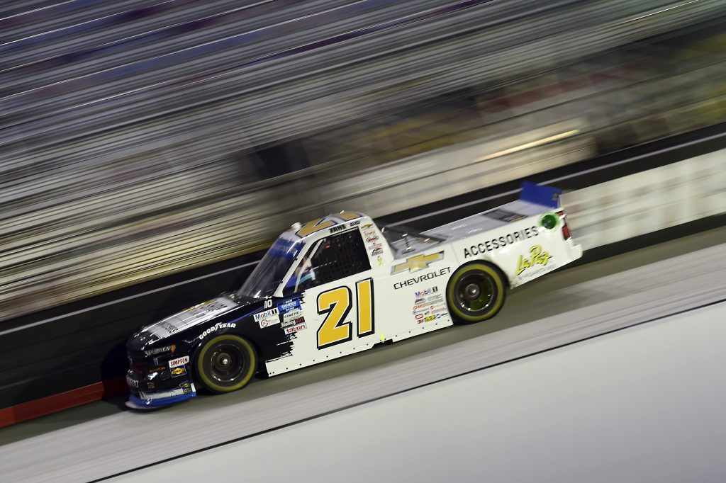 BRISTOL, TENNESSEE - SEPTEMBER 17: Zane Smith, driver of the #21 Chevy Accessories Chevrolet, drives during the NASCAR Gander RV & Outdoors Truck Series UNOH 200 presented by Ohio Logistics at Bristol Motor Speedway on September 17, 2020 in Bristol, Tennessee. (Photo by Jared C. Tilton/Getty Images) | Getty Images