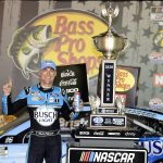 BRISTOL, TENNESSEE - SEPTEMBER 19: Kevin Harvick, driver of the #4 Busch Light Ford, celebrates in Victory Lane after winning the NASCAR Cup Series Bass Pro Shops Night Race at Bristol Motor Speedway on September 19, 2020 in Bristol, Tennessee. (Photo by Jared C. Tilton/Getty Images) | Getty Images