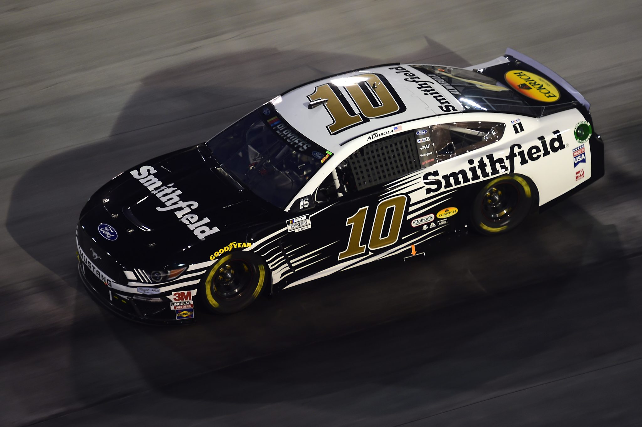 BRISTOL, TENNESSEE - SEPTEMBER 19: Aric Almirola, driver of the #10 Smithfield Ford, drives during the NASCAR Cup Series Bass Pro Shops Night Race at Bristol Motor Speedway on September 19, 2020 in Bristol, Tennessee. (Photo by Jared C. Tilton/Getty Images) | Getty Images