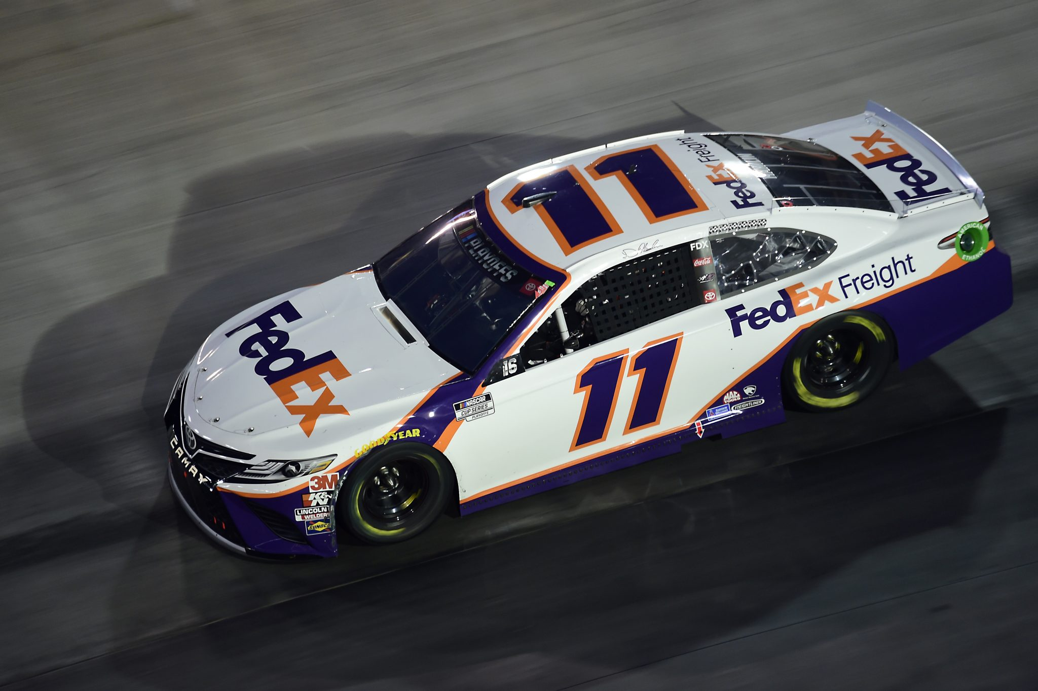 BRISTOL, TENNESSEE - SEPTEMBER 19: Denny Hamlin, driver of the #11 FedEx Freight Toyota, drives during the NASCAR Cup Series Bass Pro Shops Night Race at Bristol Motor Speedway on September 19, 2020 in Bristol, Tennessee. (Photo by Jared C. Tilton/Getty Images) | Getty Images