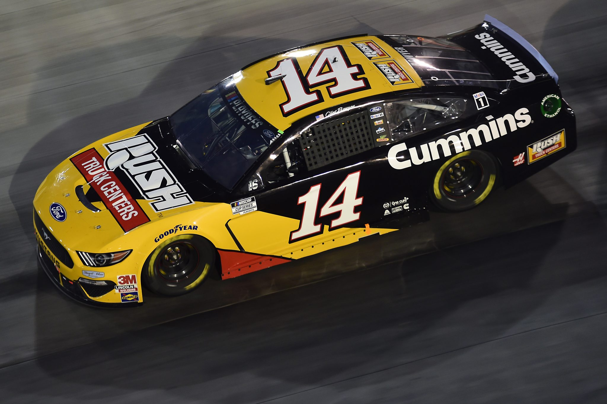 BRISTOL, TENNESSEE - SEPTEMBER 19: Clint Bowyer, driver of the #14 Rush Truck Centers/Cummins Ford, drives during the NASCAR Cup Series Bass Pro Shops Night Race at Bristol Motor Speedway on September 19, 2020 in Bristol, Tennessee. (Photo by Jared C. Tilton/Getty Images) | Getty Images