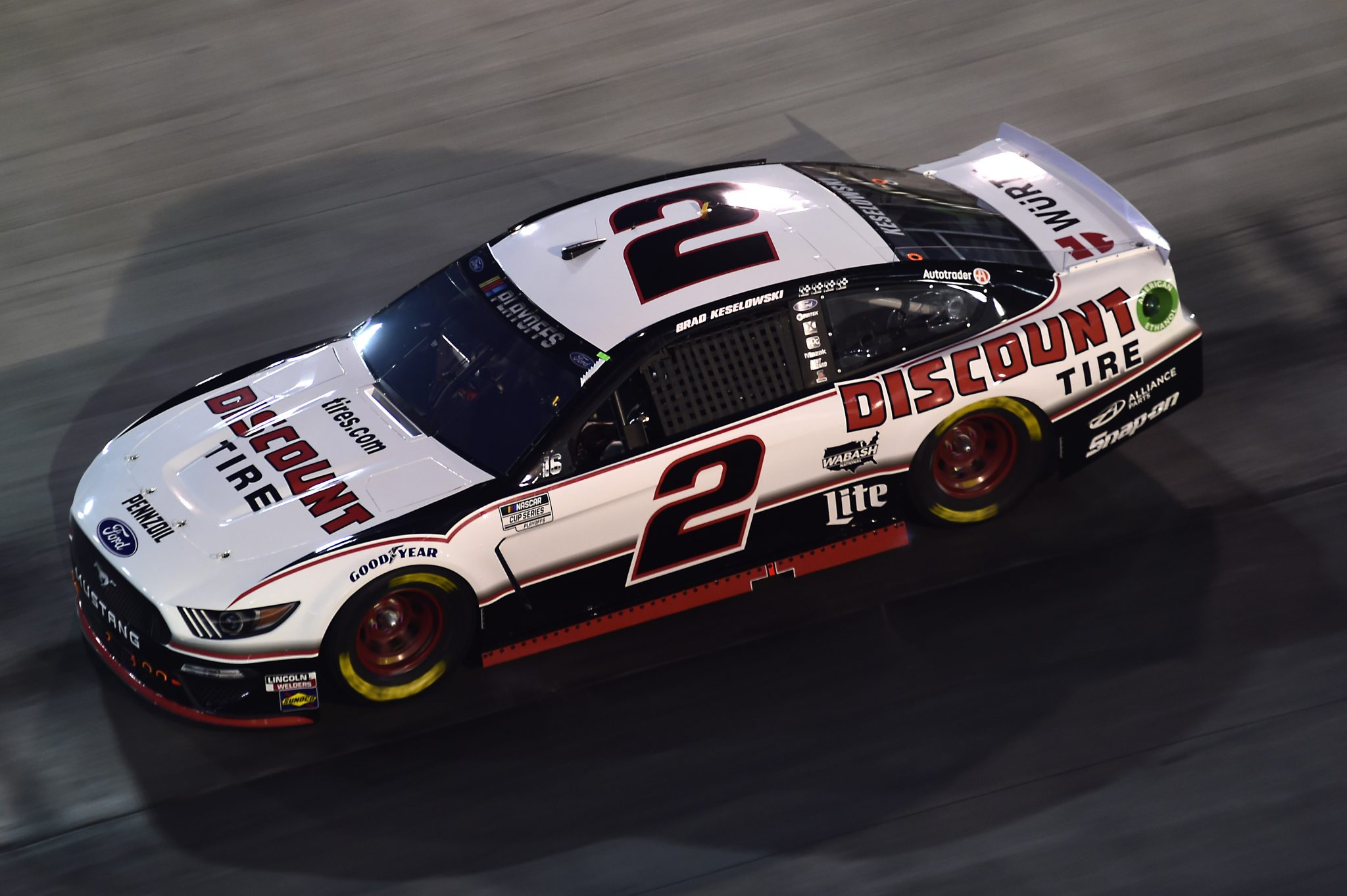 BRISTOL, TENNESSEE - SEPTEMBER 19: Brad Keselowski, driver of the #2 Discount Tire Ford, drives during the NASCAR Cup Series Bass Pro Shops Night Race at Bristol Motor Speedway on September 19, 2020 in Bristol, Tennessee. (Photo by Jared C. Tilton/Getty Images) | Getty Images