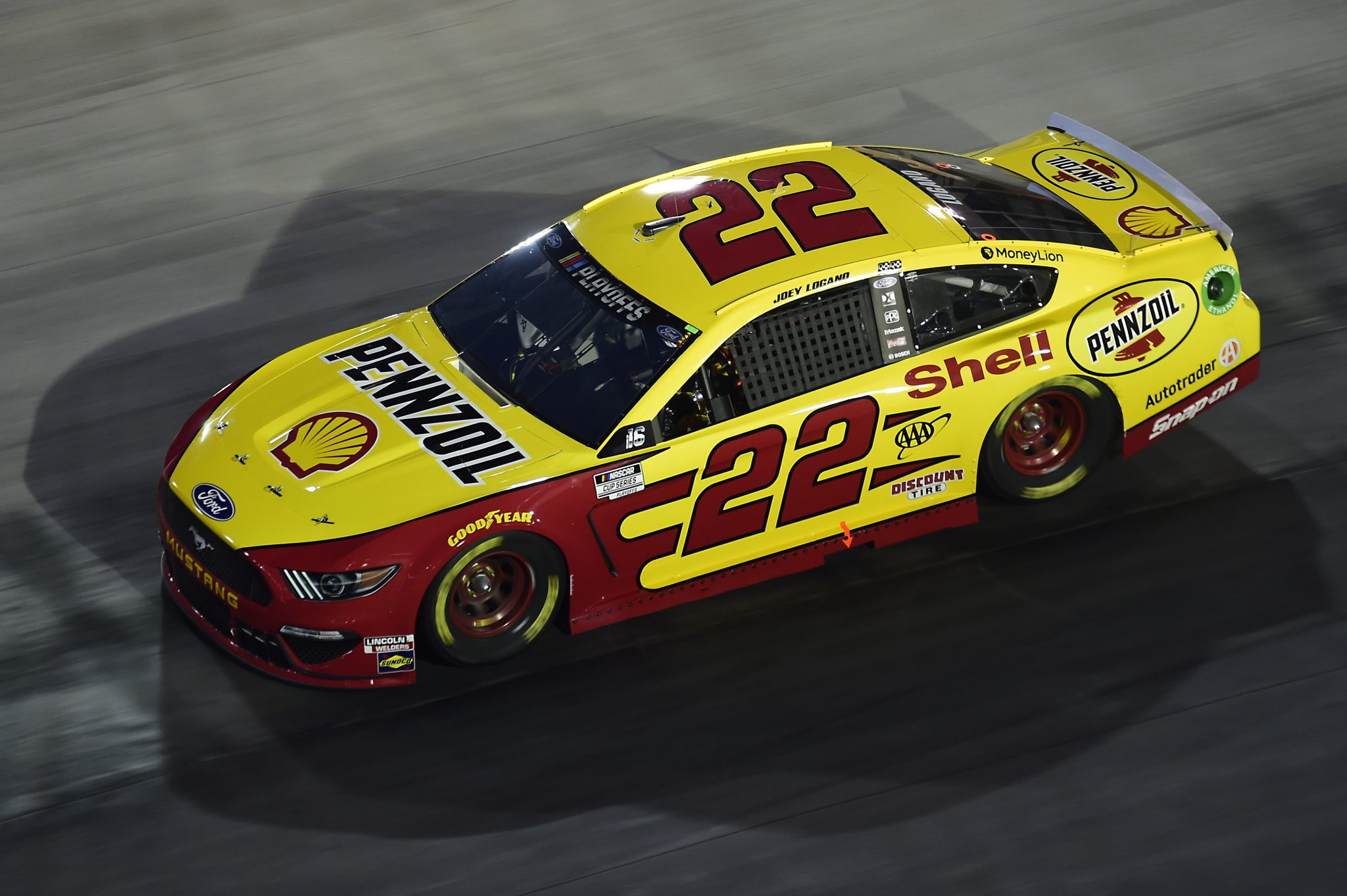 BRISTOL, TENNESSEE - SEPTEMBER 19: Joey Logano, driver of the #22 Shell Pennzoil Ford, drives during the NASCAR Cup Series Bass Pro Shops Night Race at Bristol Motor Speedway on September 19, 2020 in Bristol, Tennessee. (Photo by Jared C. Tilton/Getty Images) | Getty Images