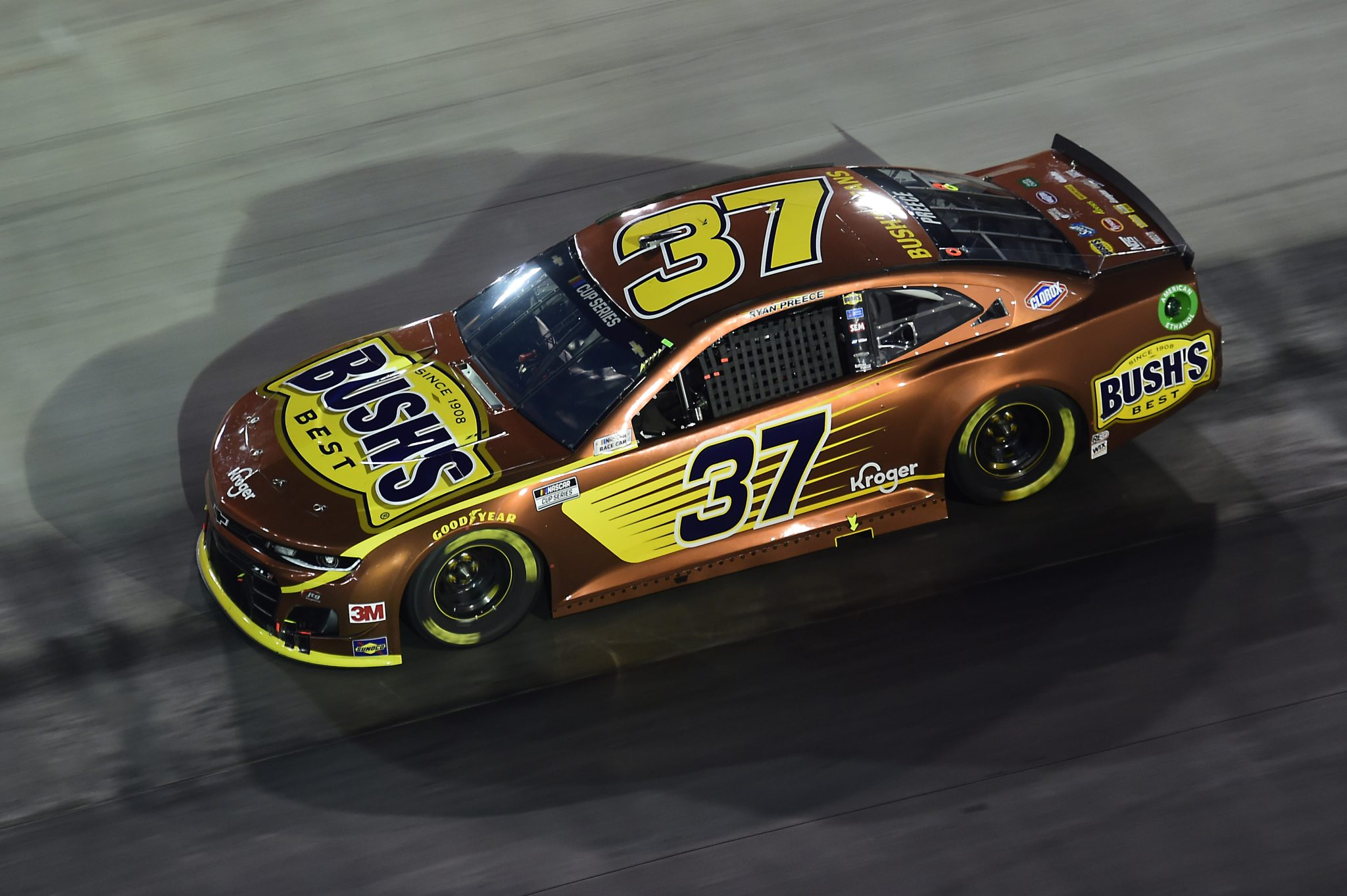 BRISTOL, TENNESSEE - SEPTEMBER 19: Ryan Preece, driver of the #37 Bush's Beans Chevrolet, drives during the NASCAR Cup Series Bass Pro Shops Night Race at Bristol Motor Speedway on September 19, 2020 in Bristol, Tennessee. (Photo by Jared C. Tilton/Getty Images) | Getty Images