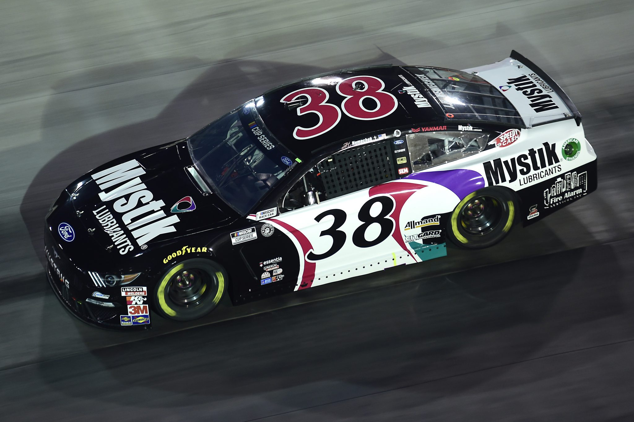 BRISTOL, TENNESSEE - SEPTEMBER 19: John H. Nemechek, driver of the #38 Mystik Michigan Ford, drives during the NASCAR Cup Series Bass Pro Shops Night Race at Bristol Motor Speedway on September 19, 2020 in Bristol, Tennessee. (Photo by Jared C. Tilton/Getty Images) | Getty Images