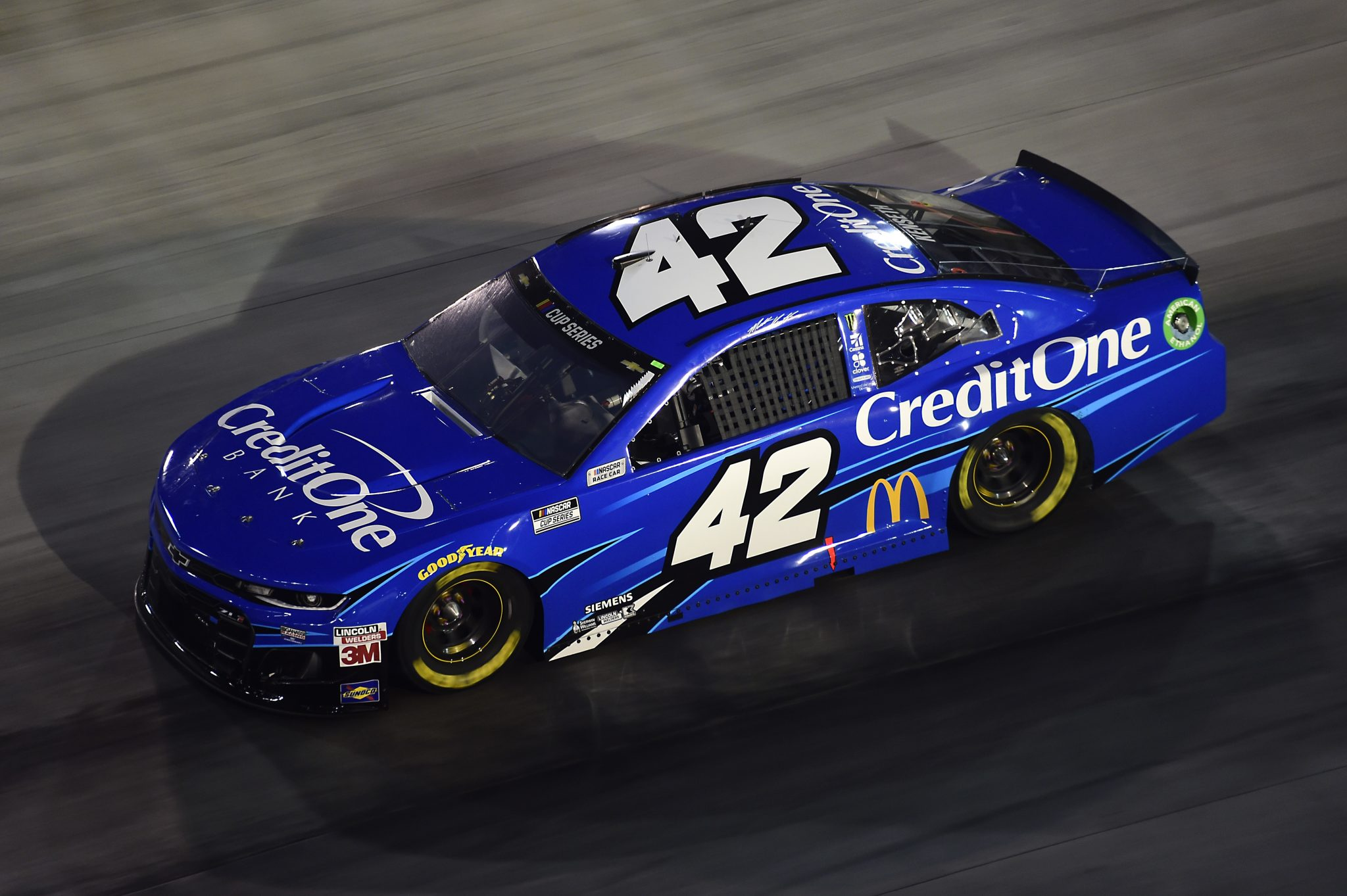 BRISTOL, TENNESSEE - SEPTEMBER 19: Matt Kenseth, driver of the #42 Credit One Bank Chevrolet, drives during the NASCAR Cup Series Bass Pro Shops Night Race at Bristol Motor Speedway on September 19, 2020 in Bristol, Tennessee. (Photo by Jared C. Tilton/Getty Images) | Getty Images