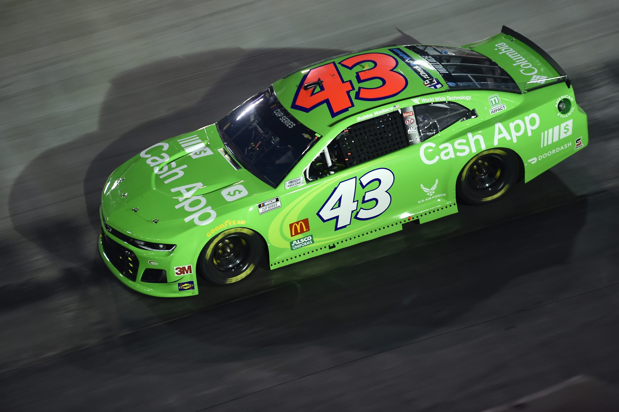 BRISTOL, TENNESSEE - SEPTEMBER 19: Bubba Wallace, driver of the #43 Cash App Chevrolet, drives during the NASCAR Cup Series Bass Pro Shops Night Race at Bristol Motor Speedway on September 19, 2020 in Bristol, Tennessee. (Photo by Jared C. Tilton/Getty Images) | Getty Images