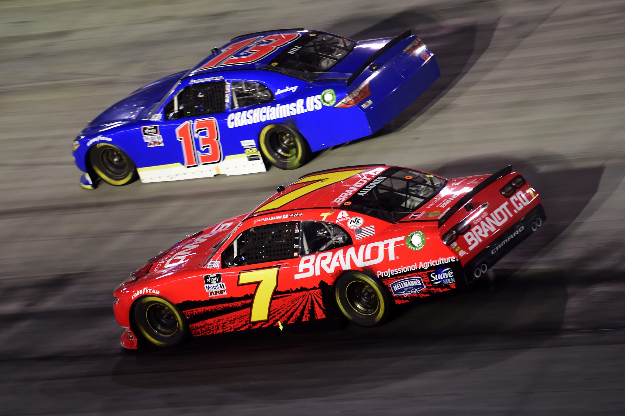 BRISTOL, TENNESSEE - SEPTEMBER 18: Justin Allgaier, driver of the #7 BRANDT Chevrolet, and Timmy Hill, driver of the #13 Toyota, race during the NASCAR Xfinity Series Food City 300 at Bristol Motor Speedway on September 18, 2020 in Bristol, Tennessee. (Photo by Jared C. Tilton/Getty Images) | Getty Images