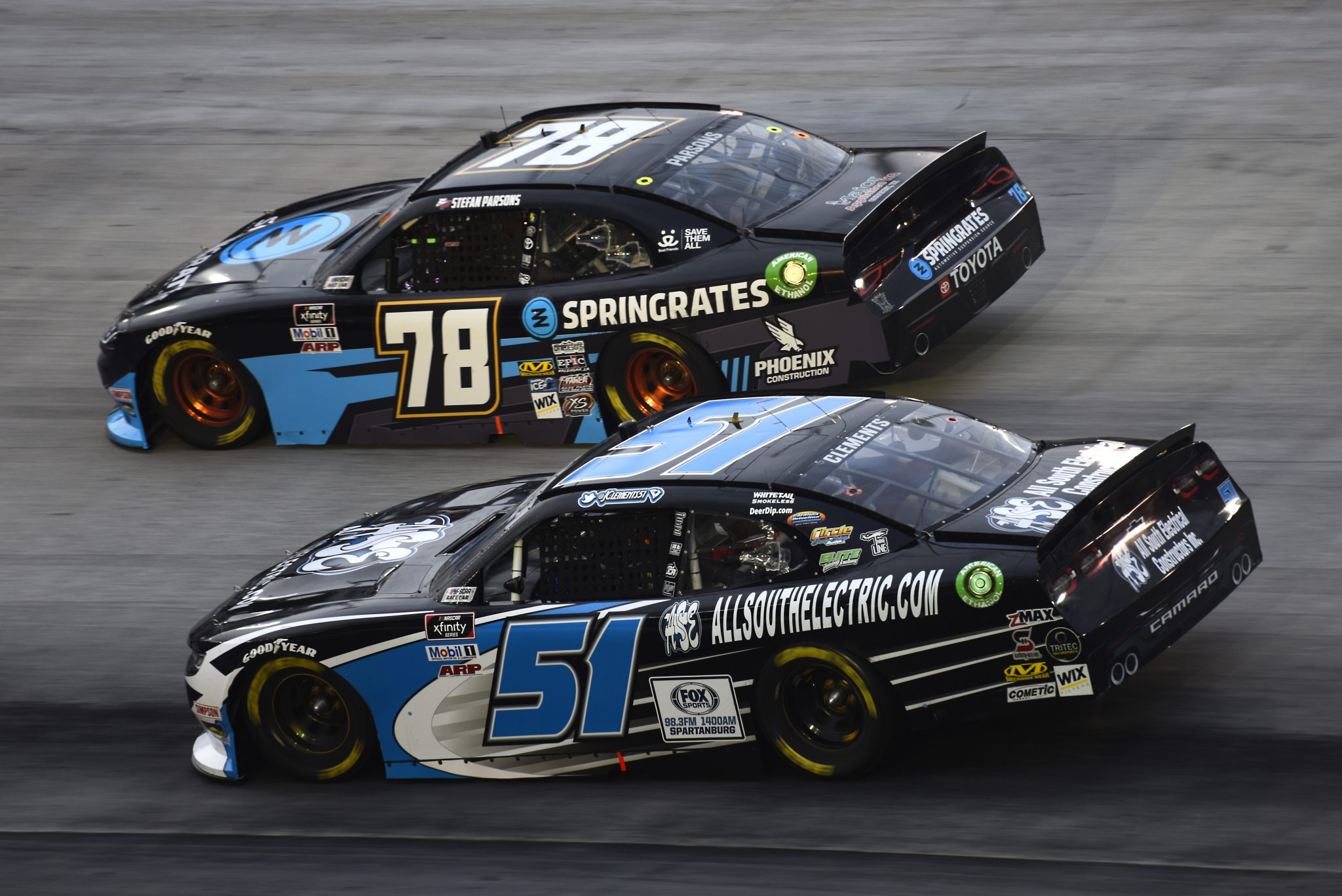 BRISTOL, TENNESSEE - SEPTEMBER 18: Jeremy Clements, driver of the #51 AllSouthElectric.com Chevrolet, and Stefan Parsons, driver of the #78 Springrates Toyota, race during the NASCAR Xfinity Series Food City 300 at Bristol Motor Speedway on September 18, 2020 in Bristol, Tennessee. (Photo by Jared C. Tilton/Getty Images) | Getty Images