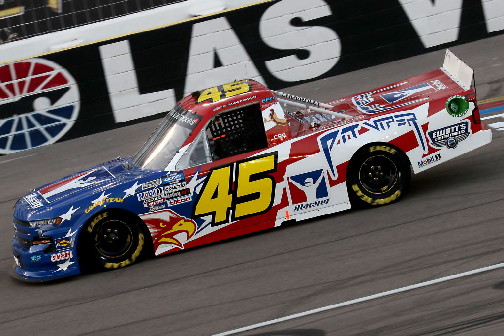 LAS VEGAS, NEVADA - SEPTEMBER 25: Travis Pastrana, driver of the #45 iRacing Chevrolet, drives during the NASCAR Gander RV & Outdoors Truck Series World of Westgate 200 at Las Vegas Motor Speedway on September 25, 2020 in Las Vegas, Nevada. (Photo by Chris Graythen/Getty Images) | Getty Images