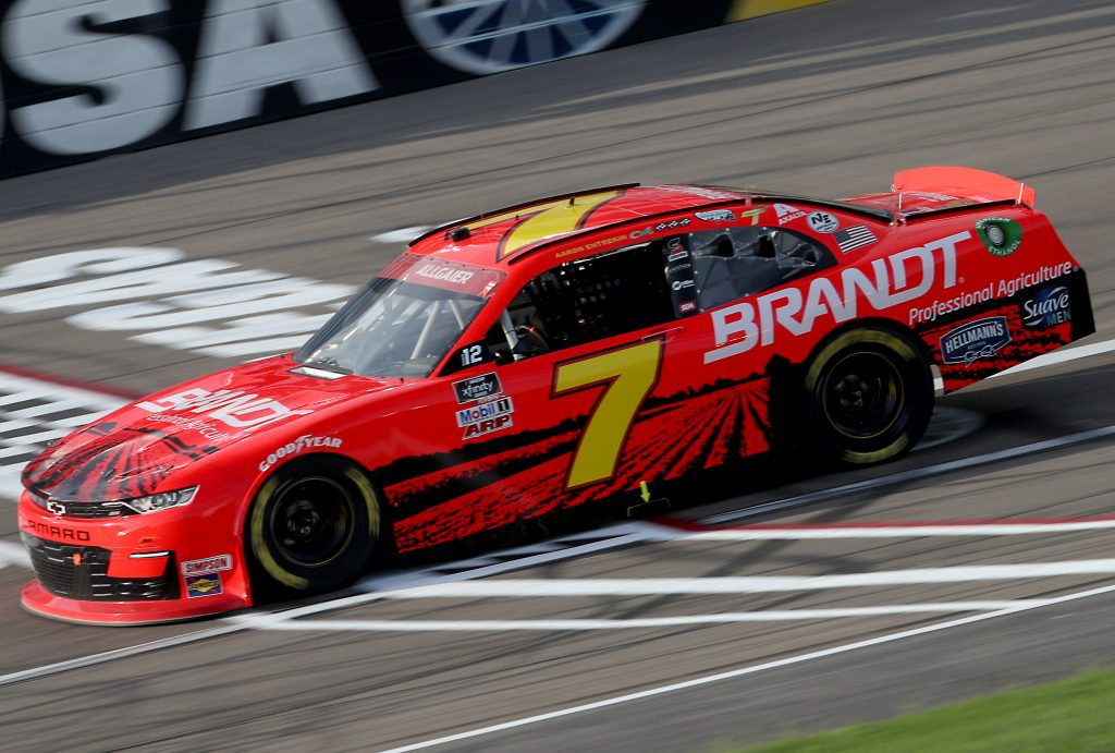 LAS VEGAS, NEVADA - SEPTEMBER 26: Justin Allgaier, driver of the #7 BRANDT Chevrolet, drives during the NASCAR Xfinity Series Alsco 300 at Las Vegas Motor Speedway on September 26, 2020 in Las Vegas, Nevada. (Photo by Chris Graythen/Getty Images) | Getty Images