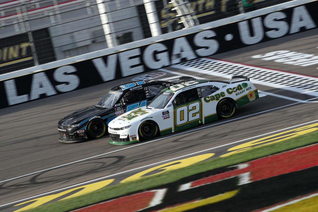 LAS VEGAS, NEVADA - SEPTEMBER 26: Brett Moffitt, driver of the #02 Cape Cod Ready Mix Chevrolet, and Jeremy Clements, driver of the #51 Chevrolet, race during the NASCAR Xfinity Series Alsco 300 at Las Vegas Motor Speedway on September 26, 2020 in Las Vegas, Nevada. (Photo by Chris Graythen/Getty Images) | Getty Images