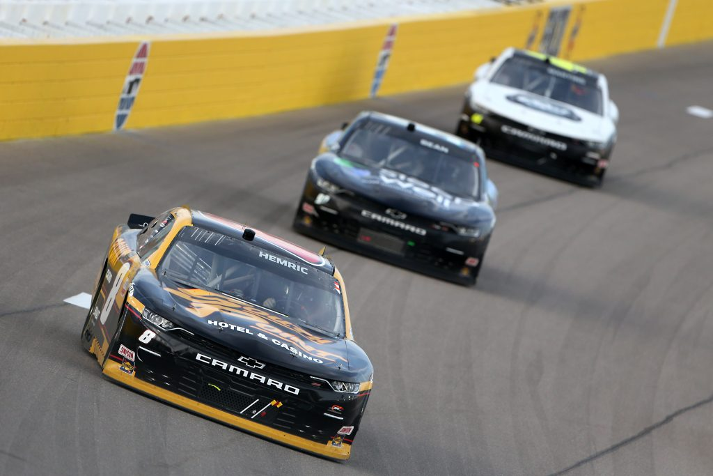 LAS VEGAS, NEVADA - SEPTEMBER 26: Daniel Hemric, driver of the #8 South Point Hotel & Casino Chevrolet, leads the field during the NASCAR Xfinity Series Alsco 300 at Las Vegas Motor Speedway on September 26, 2020 in Las Vegas, Nevada. (Photo by Brian Lawdermilk/Getty Images) | Getty Images
