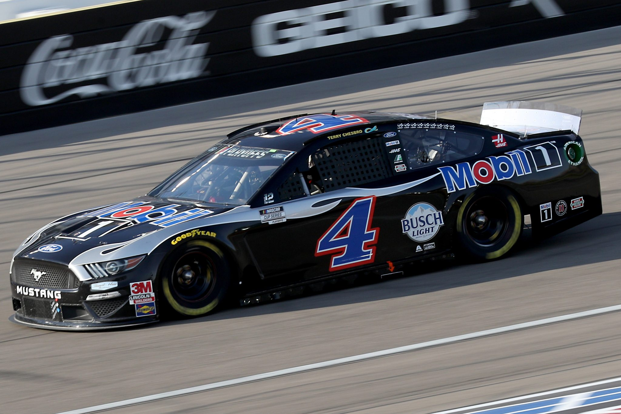 LAS VEGAS, NEVADA - SEPTEMBER 27: Kevin Harvick, driver of the #4 Mobil 1 Ford, drives during the NASCAR Cup Series South Point 400 at Las Vegas Motor Speedway on September 27, 2020 in Las Vegas, Nevada. (Photo by Chris Graythen/Getty Images) | Getty Images