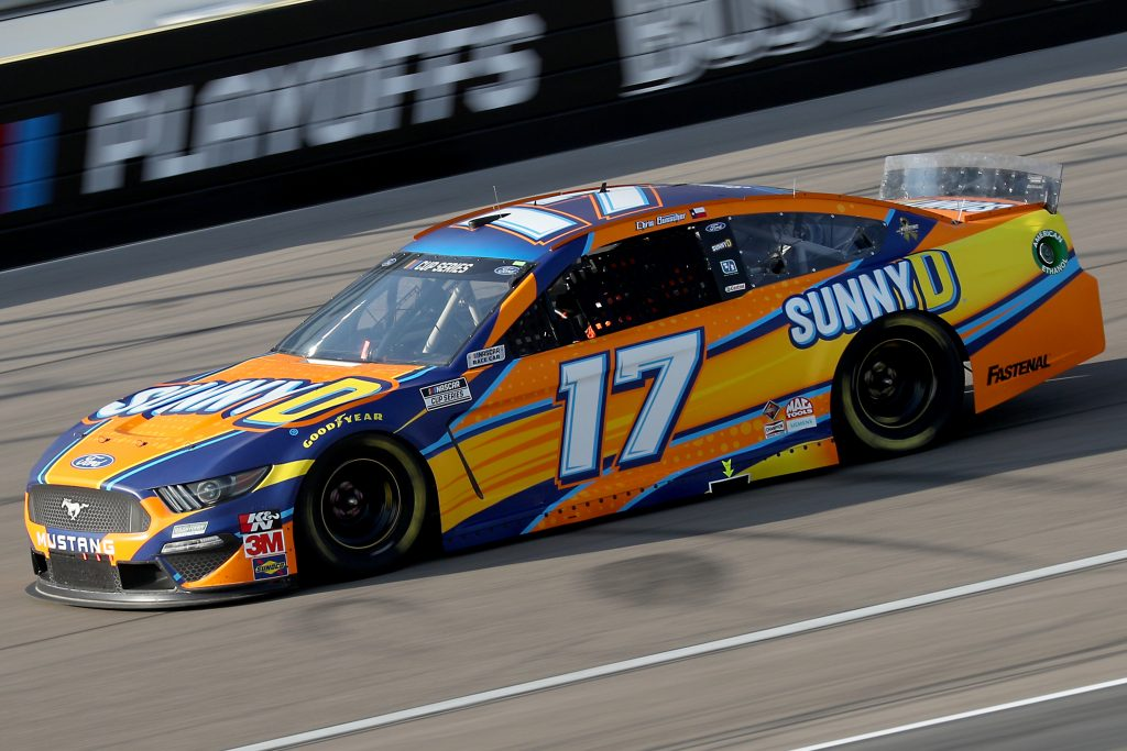 LAS VEGAS, NEVADA - SEPTEMBER 27: Chris Buescher, driver of the #17 SunnyD Ford, drives during the NASCAR Cup Series South Point 400 at Las Vegas Motor Speedway on September 27, 2020 in Las Vegas, Nevada. (Photo by Chris Graythen/Getty Images) | Getty Images