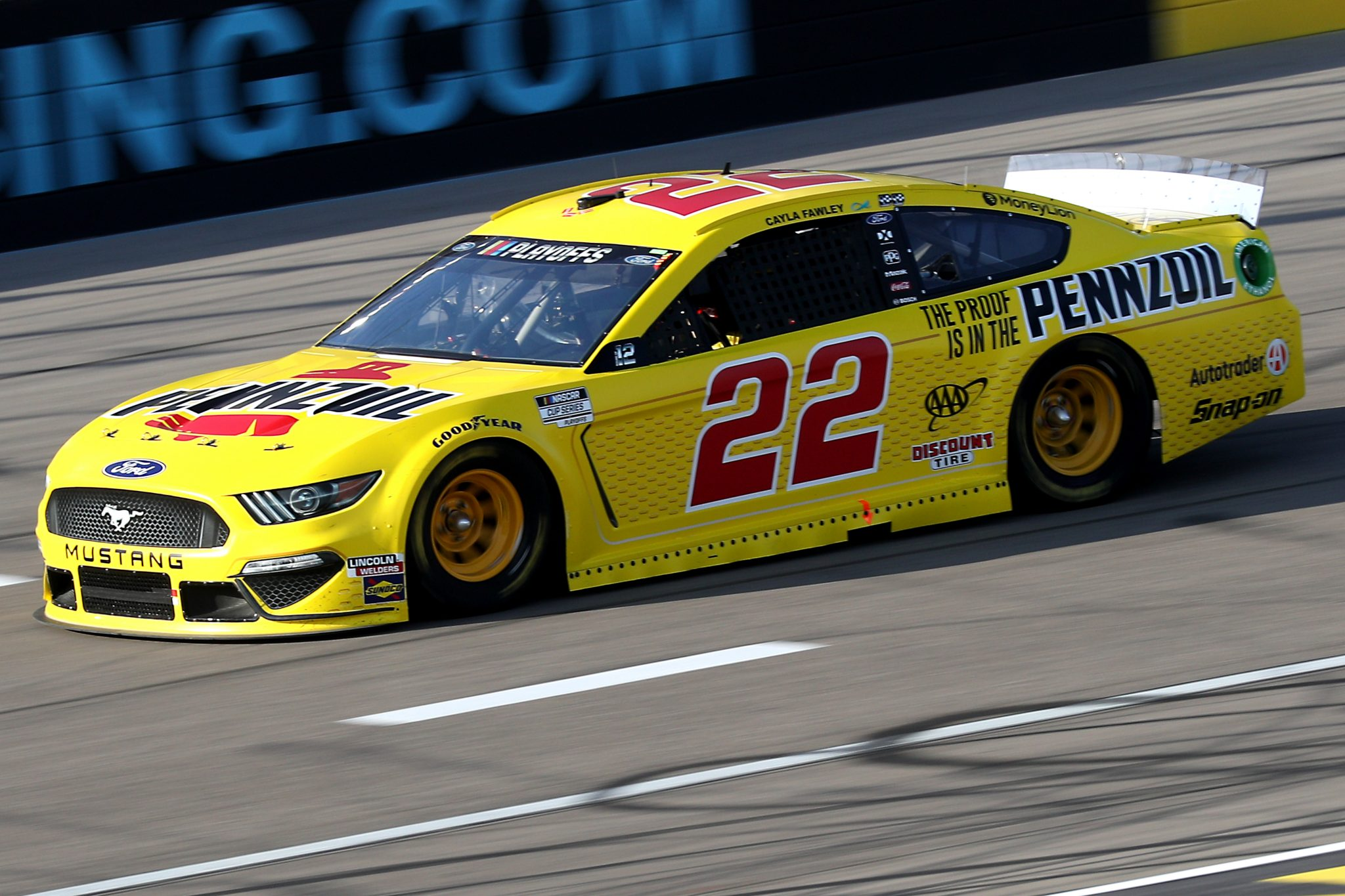 LAS VEGAS, NEVADA - SEPTEMBER 27: Joey Logano, driver of the #22 Pennzoil Ford, drives during the NASCAR Cup Series South Point 400 at Las Vegas Motor Speedway on September 27, 2020 in Las Vegas, Nevada. (Photo by Chris Graythen/Getty Images) | Getty Images
