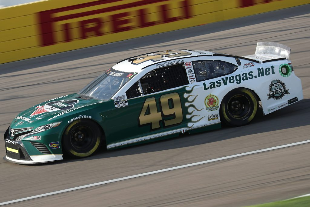 LAS VEGAS, NEVADA - SEPTEMBER 27: Chad Finchum, driver of the #49 LasVegas.net Toyota, drives during the NASCAR Cup Series South Point 400 at Las Vegas Motor Speedway on September 27, 2020 in Las Vegas, Nevada. (Photo by Chris Graythen/Getty Images) | Getty Images