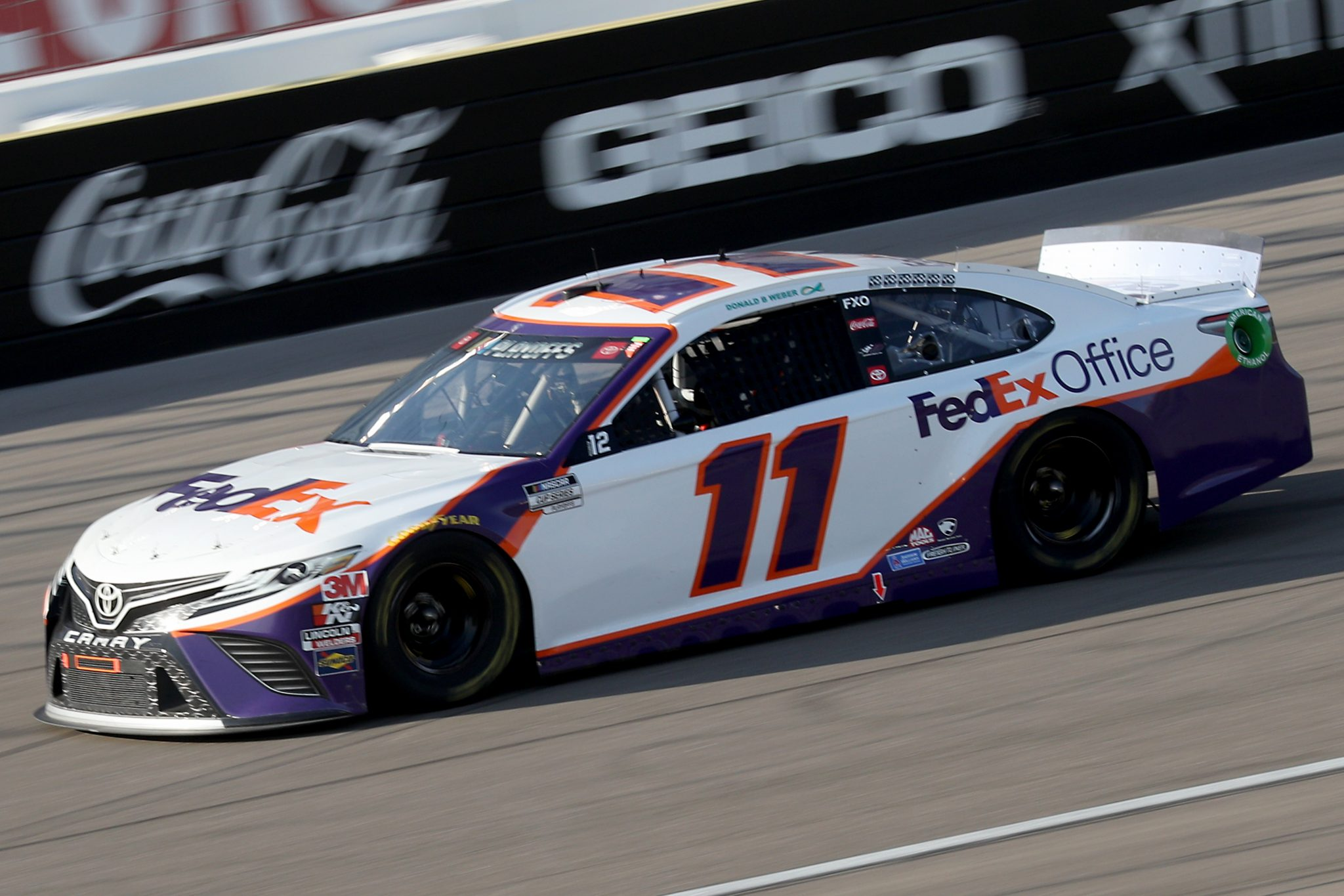 LAS VEGAS, NEVADA - SEPTEMBER 27: Denny Hamlin, driver of the #11 FedEx Office Toyota, drives during the NASCAR Cup Series South Point 400 at Las Vegas Motor Speedway on September 27, 2020 in Las Vegas, Nevada. (Photo by Chris Graythen/Getty Images) | Getty Images