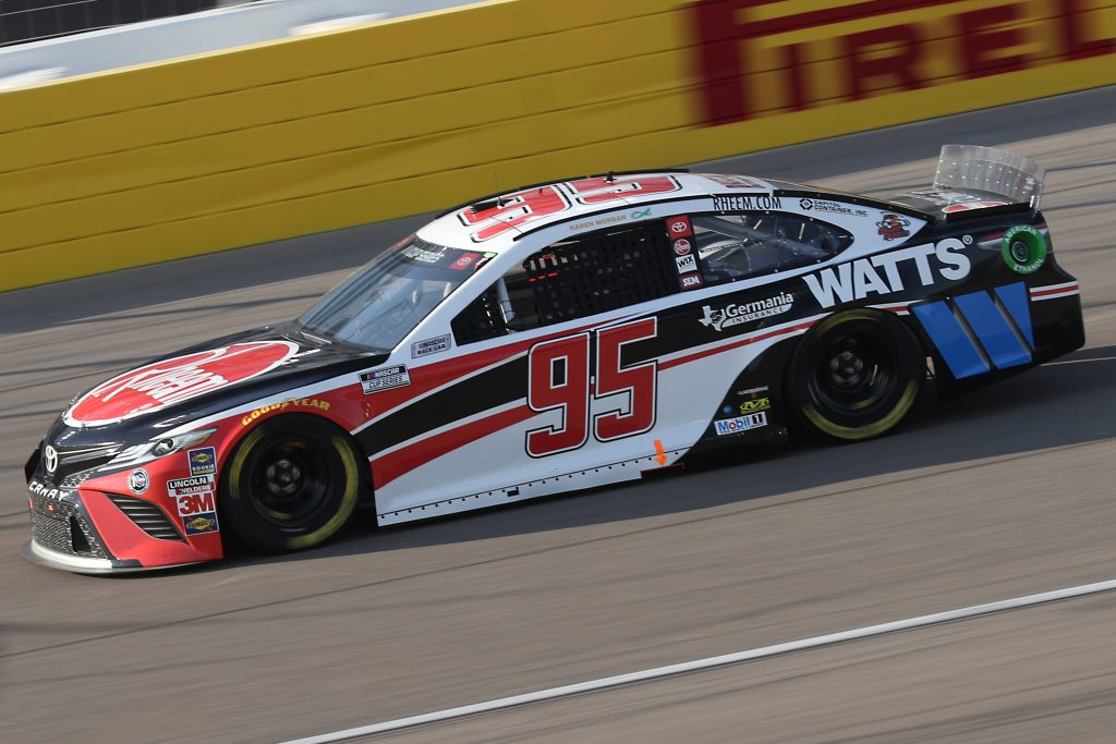 LAS VEGAS, NEVADA - SEPTEMBER 27: Christopher Bell, driver of the #95 Rheem/Watts Toyota, drives during the NASCAR Cup Series South Point 400 at Las Vegas Motor Speedway on September 27, 2020 in Las Vegas, Nevada. (Photo by Chris Graythen/Getty Images) | Getty Images