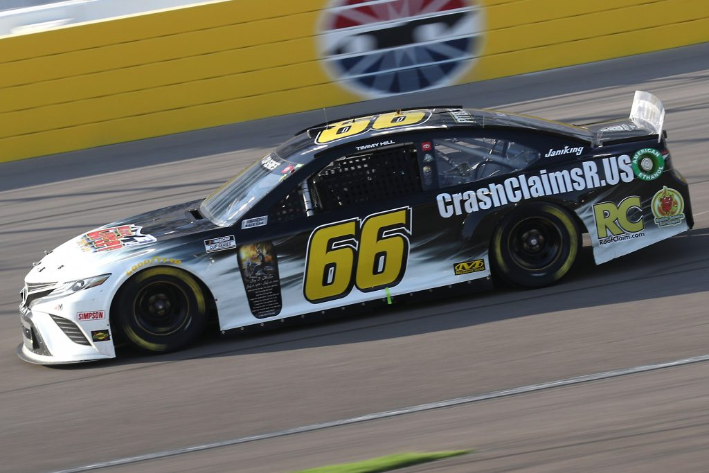 LAS VEGAS, NEVADA - SEPTEMBER 27: Timmy Hill, driver of the #66 CrashClaimsR.US Toyota, drives during the NASCAR Cup Series South Point 400 at Las Vegas Motor Speedway on September 27, 2020 in Las Vegas, Nevada. (Photo by Chris Graythen/Getty Images) | Getty Images